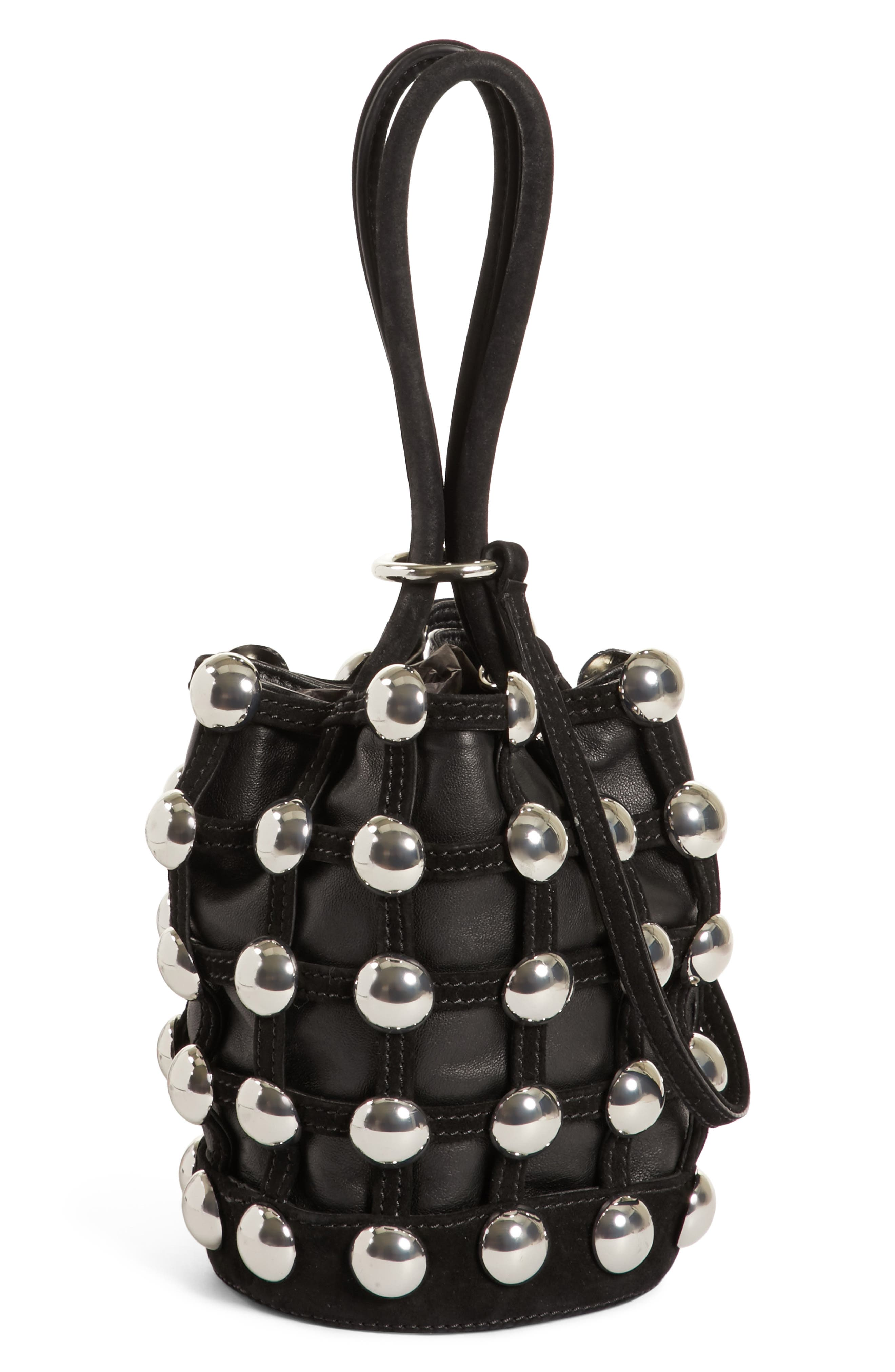 Mini Roxy Studded Cage Leather Bucket Bag,                             Main thumbnail 1, color,                             Black