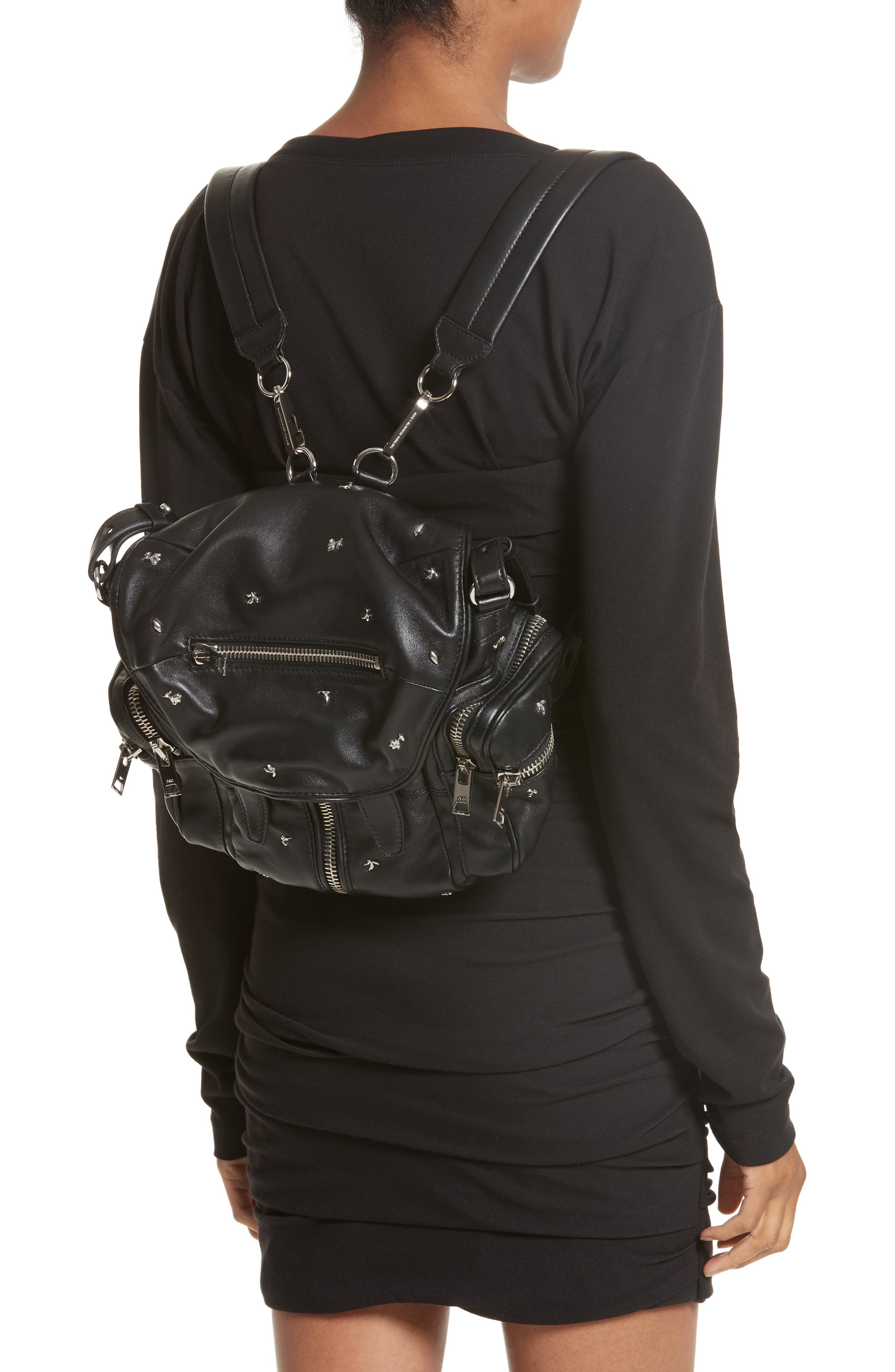 Alternate Image 2  - Alexander Wang Mini Marti Rose Studded Convertible Leather Backpack