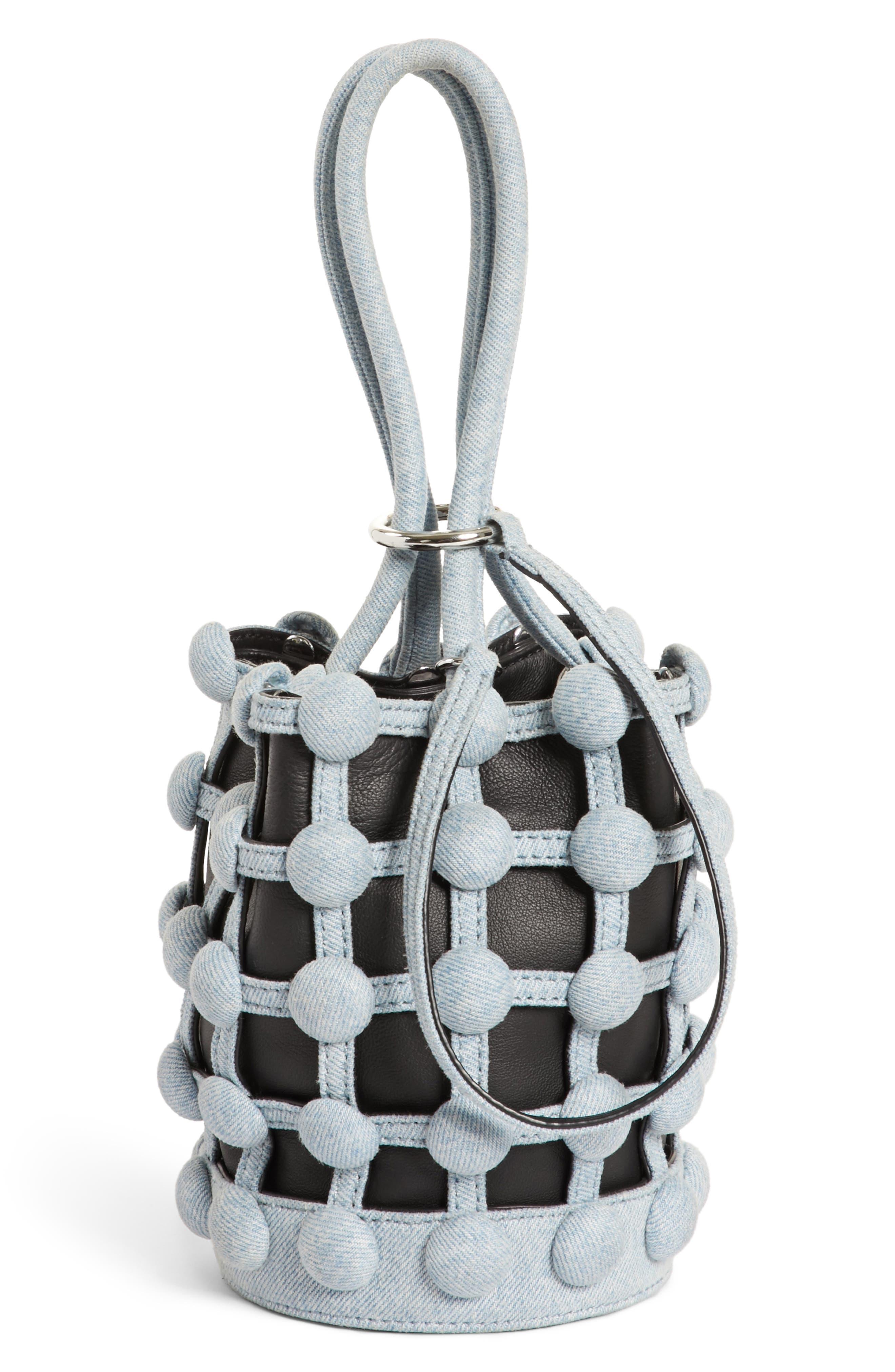 Alternate Image 1 Selected - Alexander Wang Mini Roxy Denim Cage Leather Bucket Bag