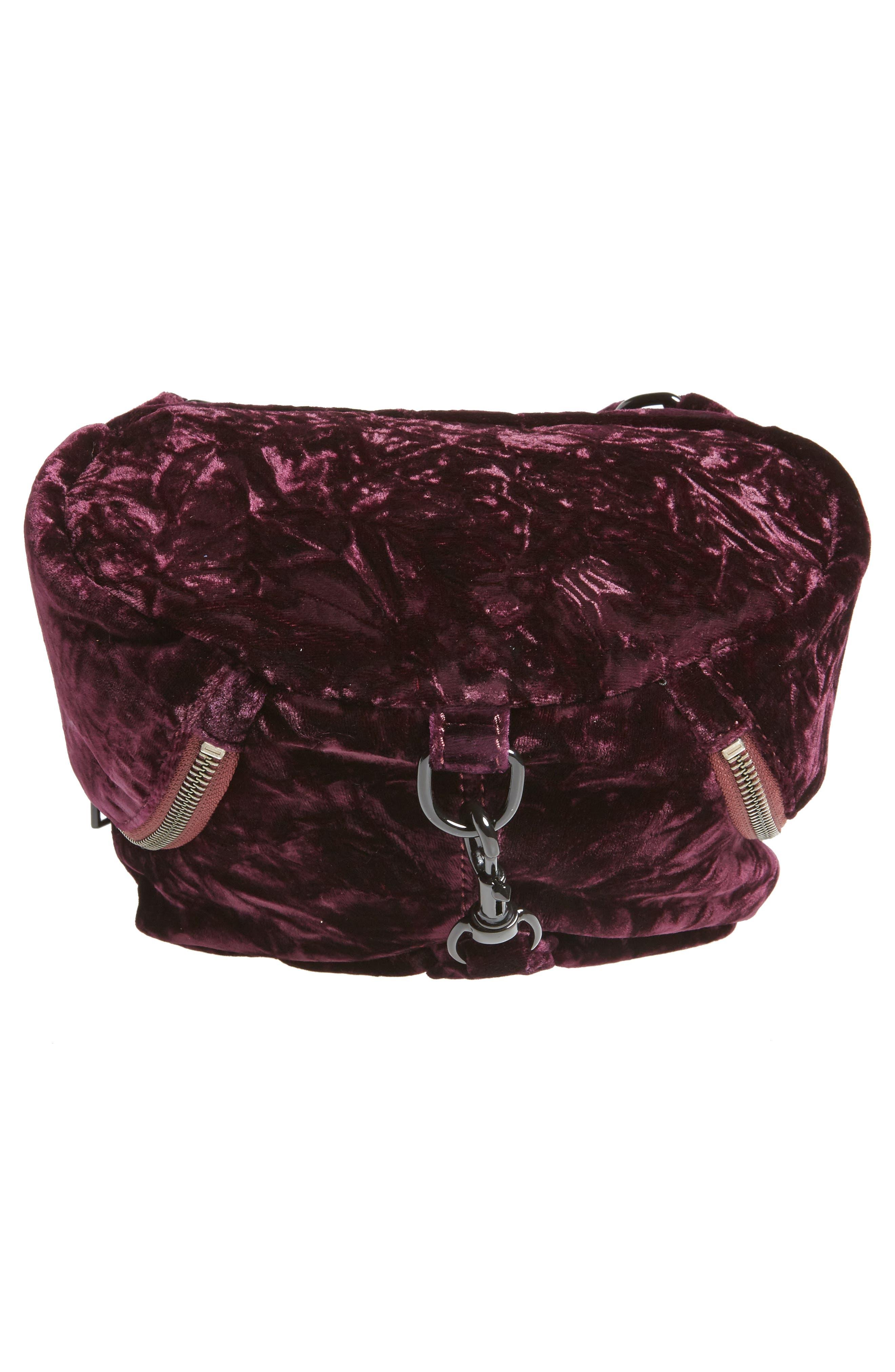 Julian Velvet Backpack,                             Alternate thumbnail 6, color,                             Dark Cherry