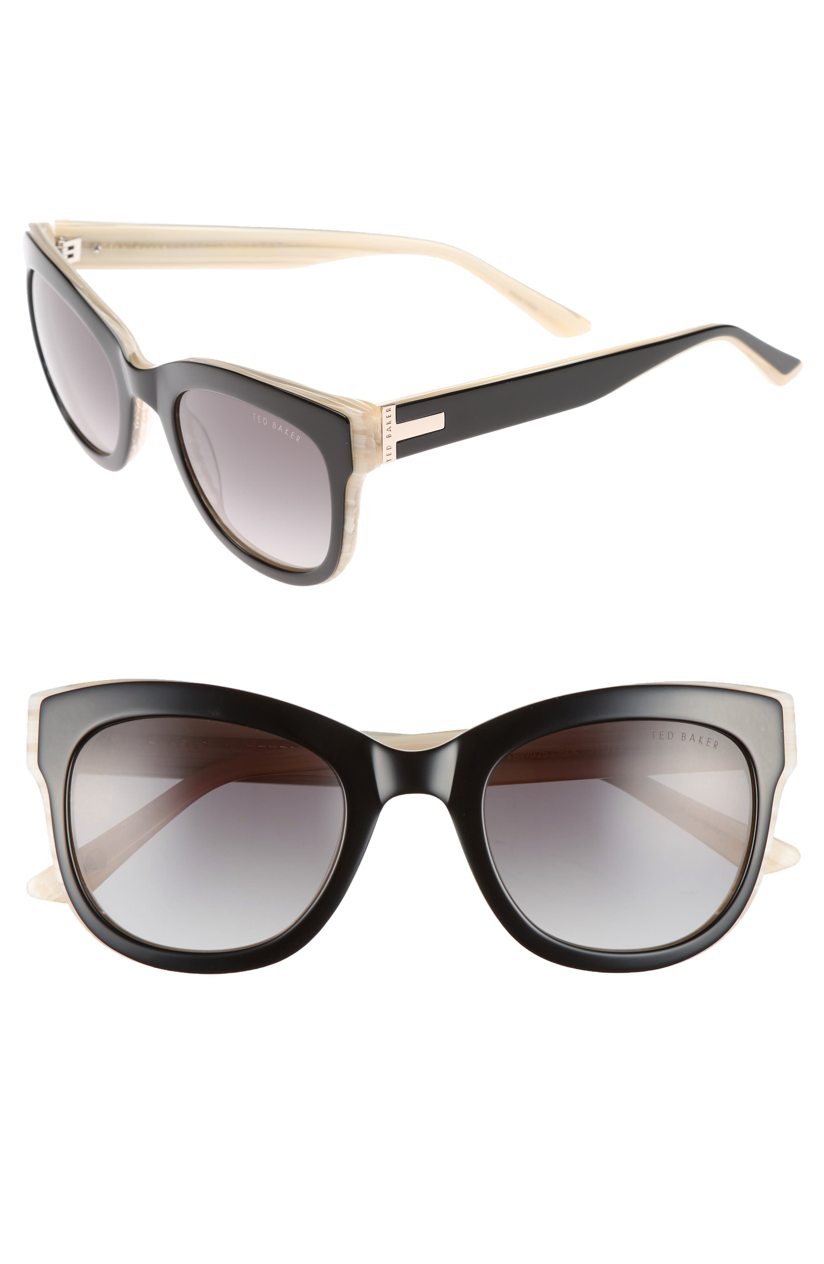 51mm Square Cat Eye Sunglasses,                             Main thumbnail 1, color,                             Black