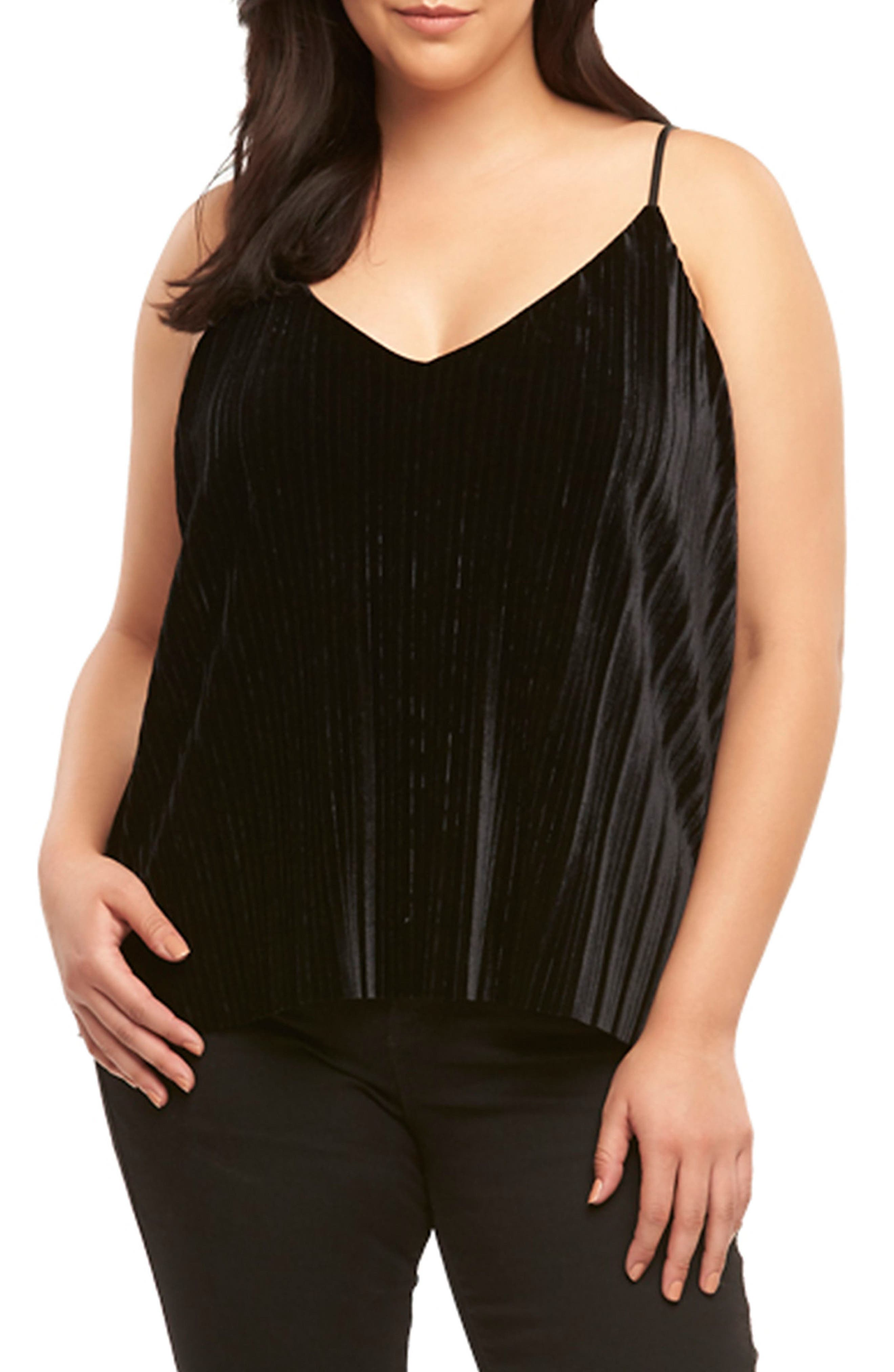 Main Image - Tart Maren Pleat Velvet Camisole (Plus Size)