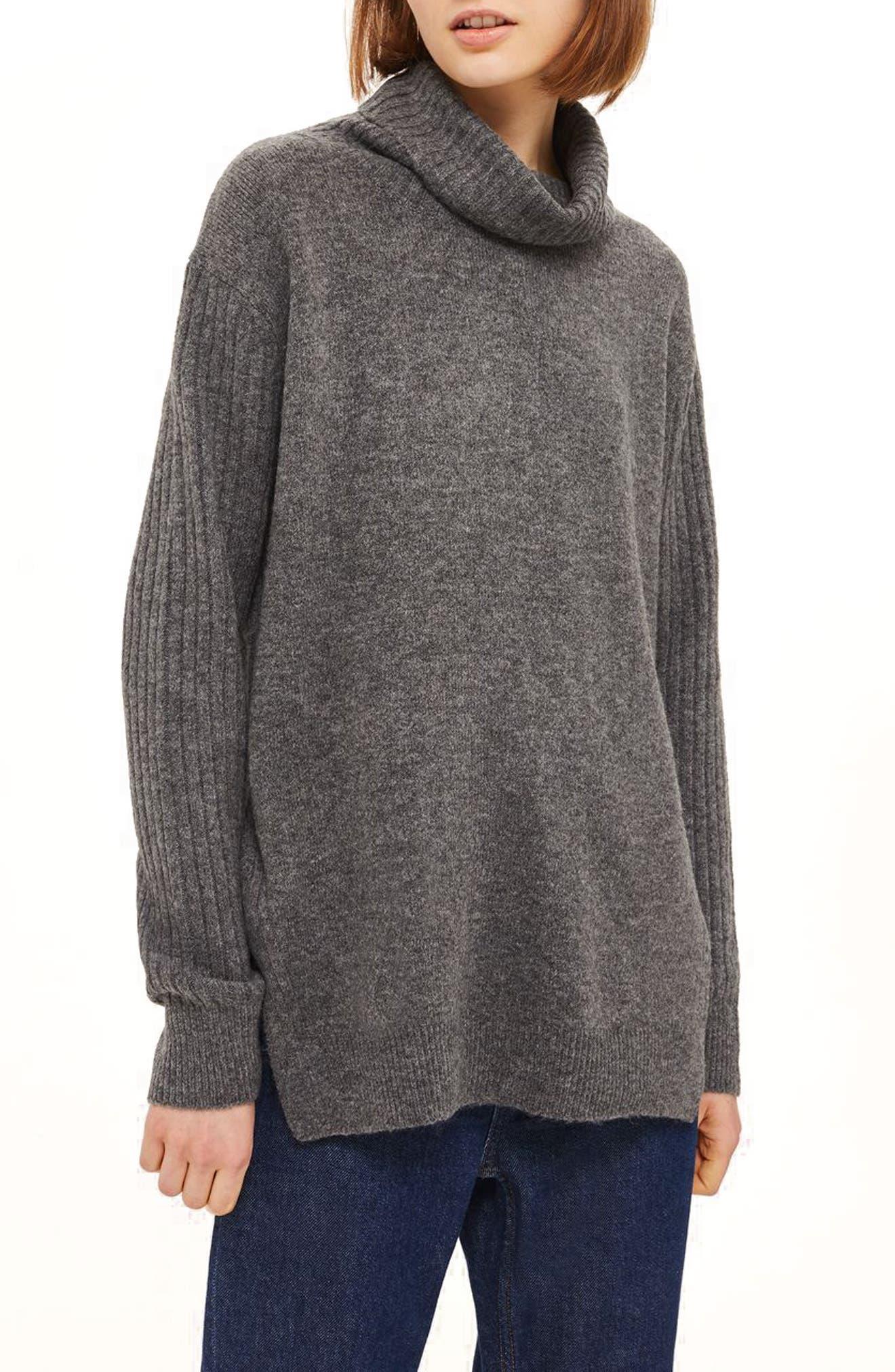 Topshop Oversize Funnel Neck Sweater