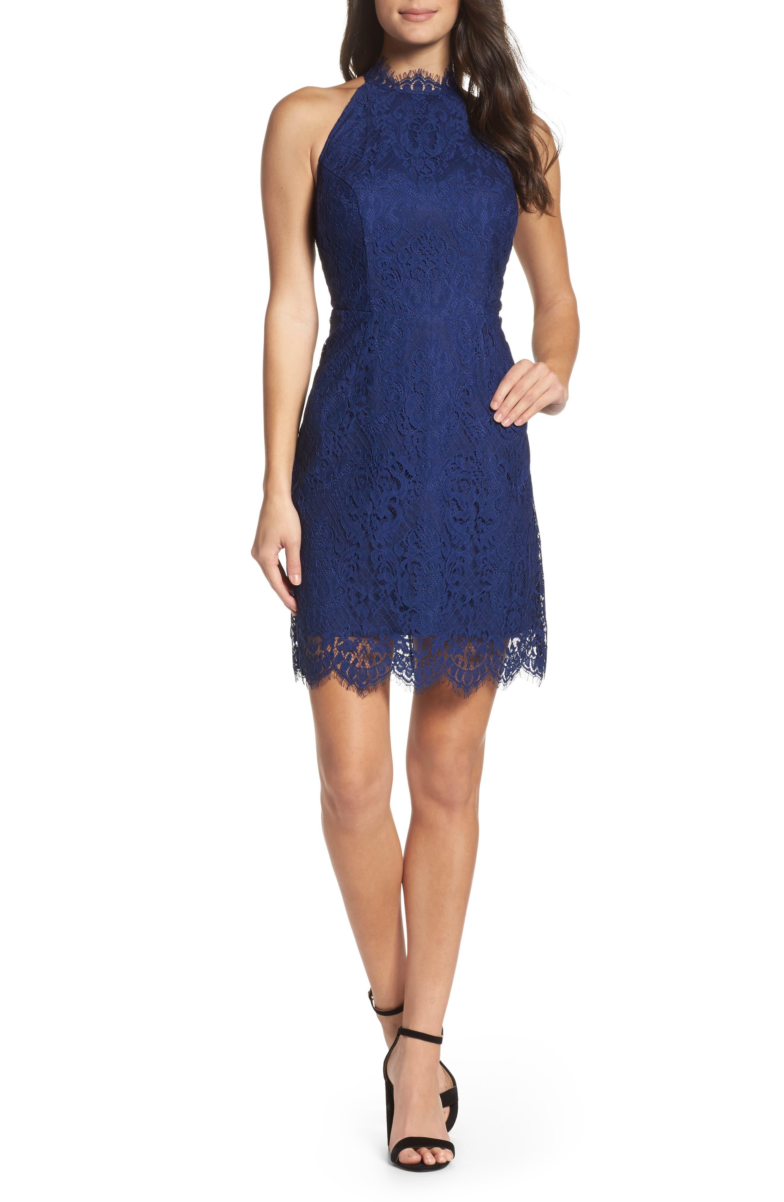 Cherie Lace Halter Sheath Dress,                         Main,                         color, Blue