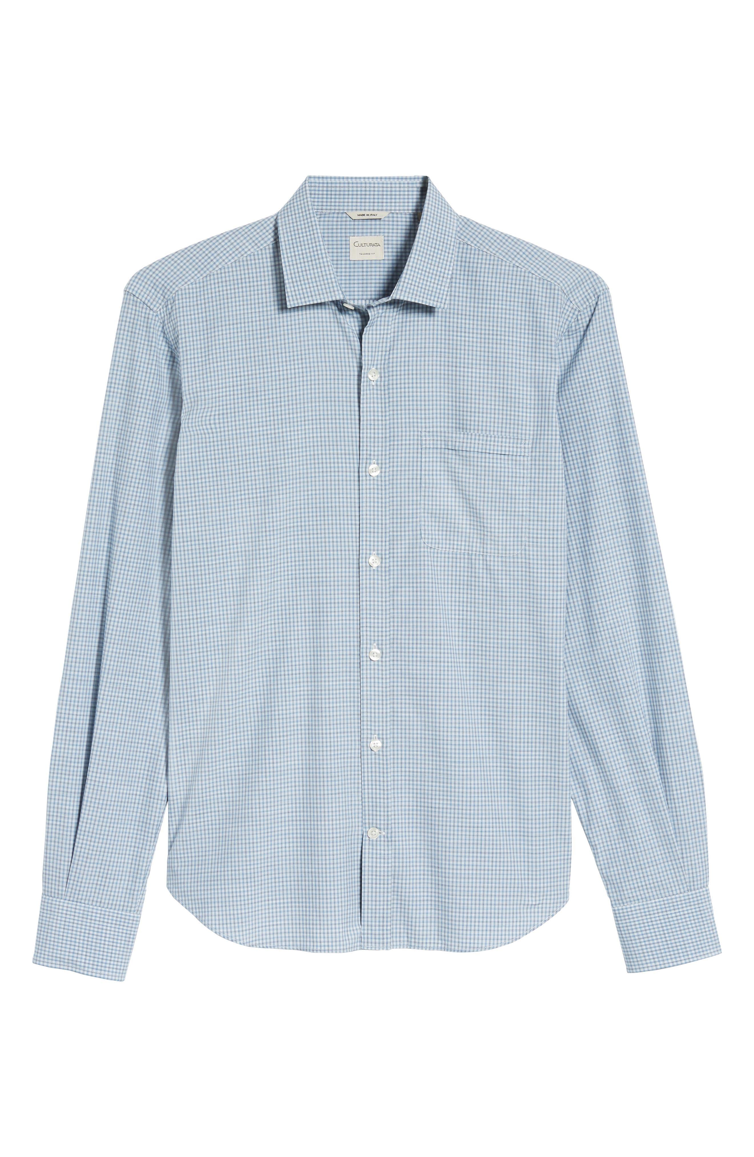 Slim Fit Plaid Sport Shirt,                             Alternate thumbnail 6, color,                             Blue
