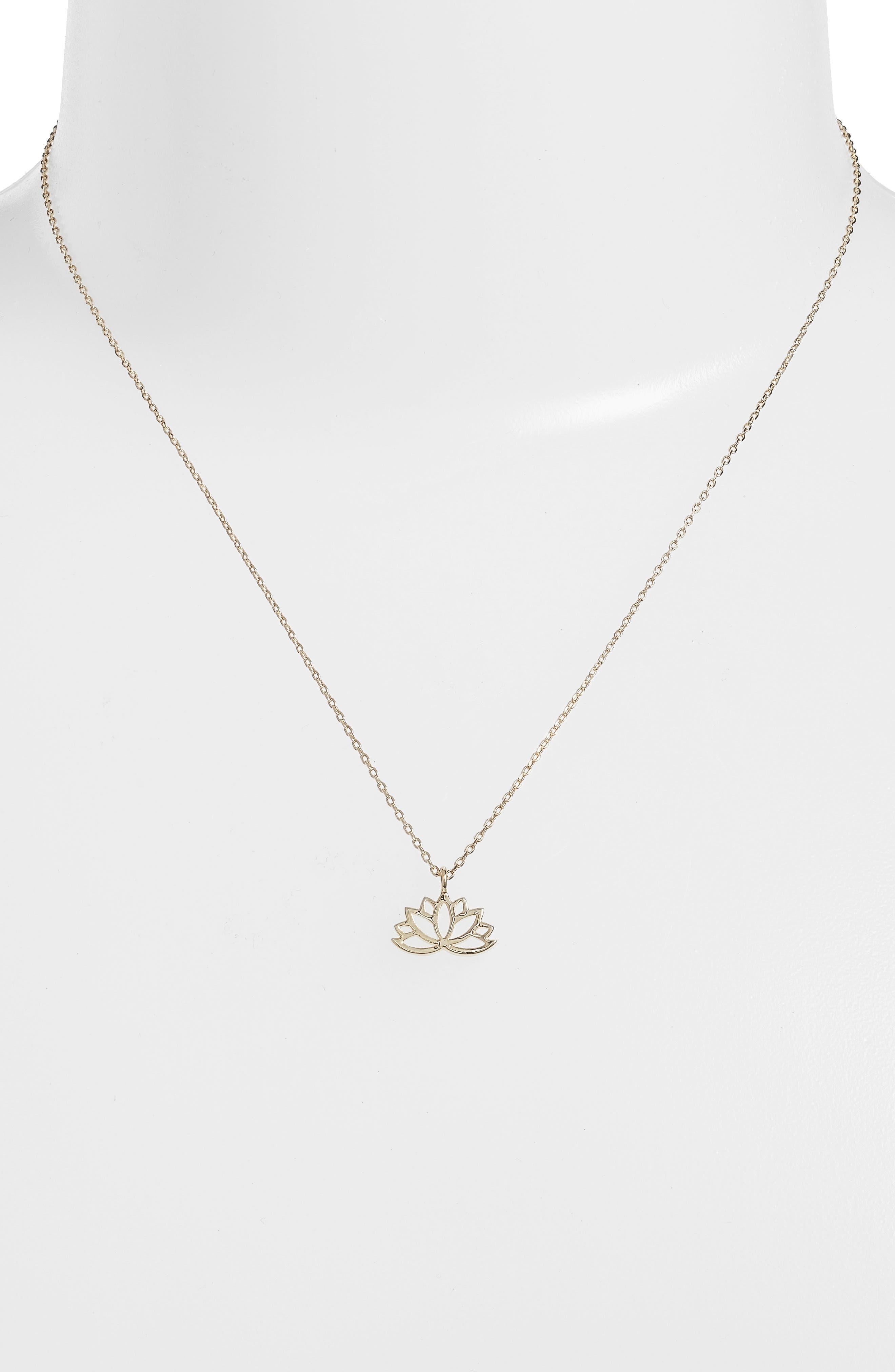 Lotus Leaf Pendant Necklace,                             Alternate thumbnail 2, color,                             Gold