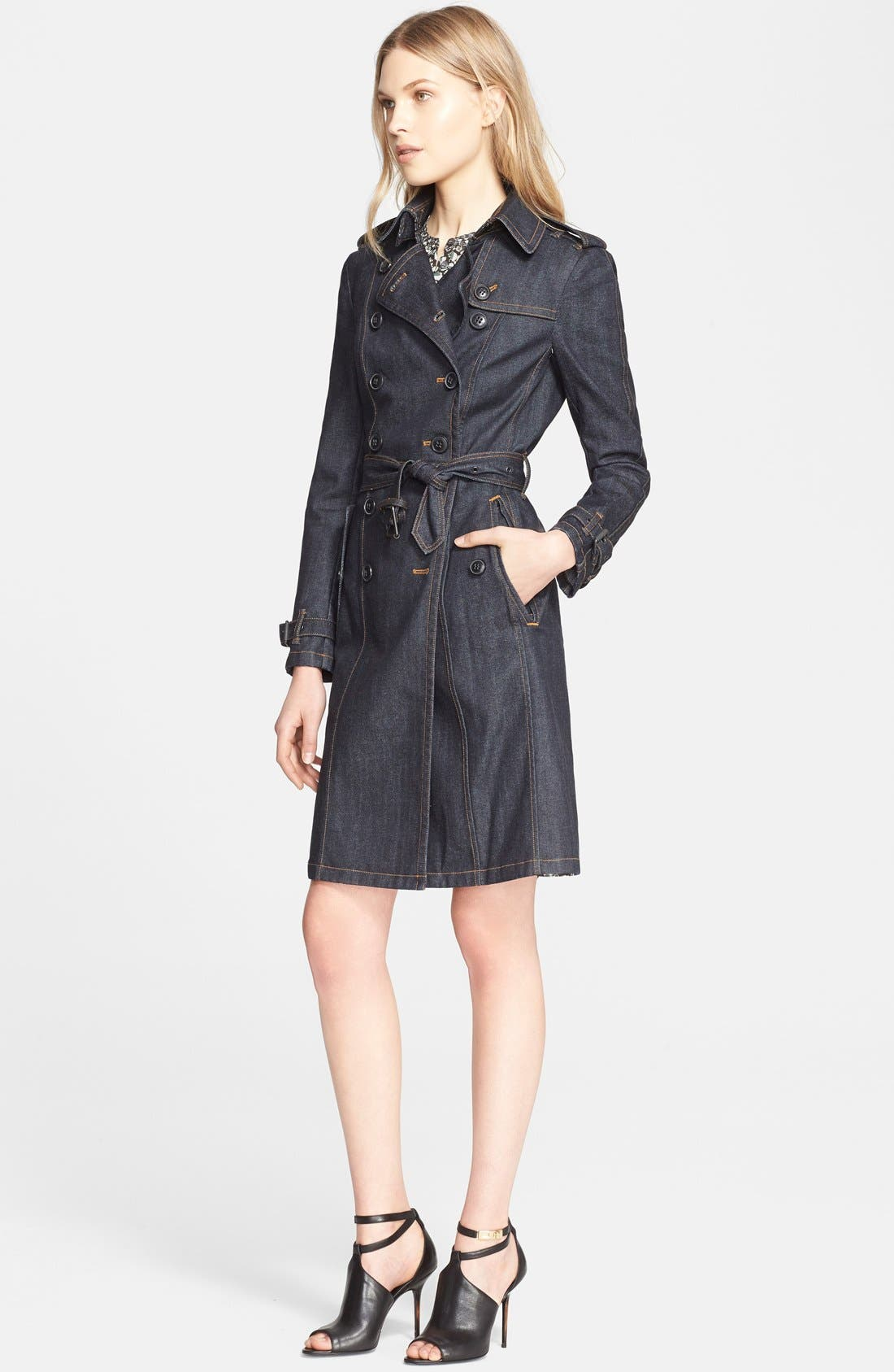 Women's Denim Trench Coat Hoodie Outerwear Hooded Jeans Coat Jacket. Steve Madden Women's Hooded Denim Trench Coat. by Steve Madden. $ $ 89 99 Prime. FREE Shipping on eligible orders. Some sizes/colors are Prime eligible. out of 5 stars 6. Product Description Classic styled updated in denim long hooded trench coat.