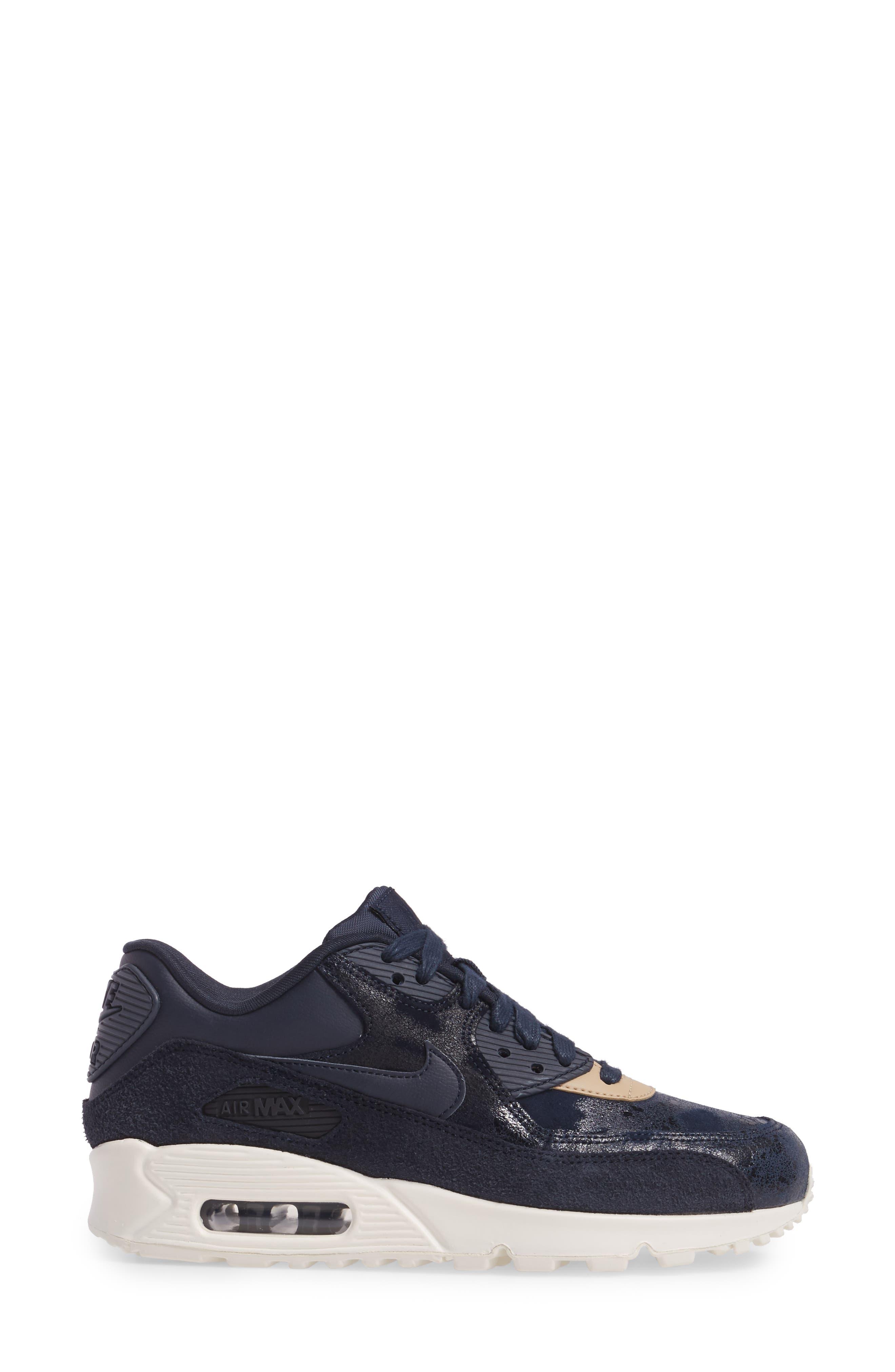 Air Max 90 Premium Sneaker,                             Alternate thumbnail 3, color,                             Dark Obsidian/ Sail/ Mushroom
