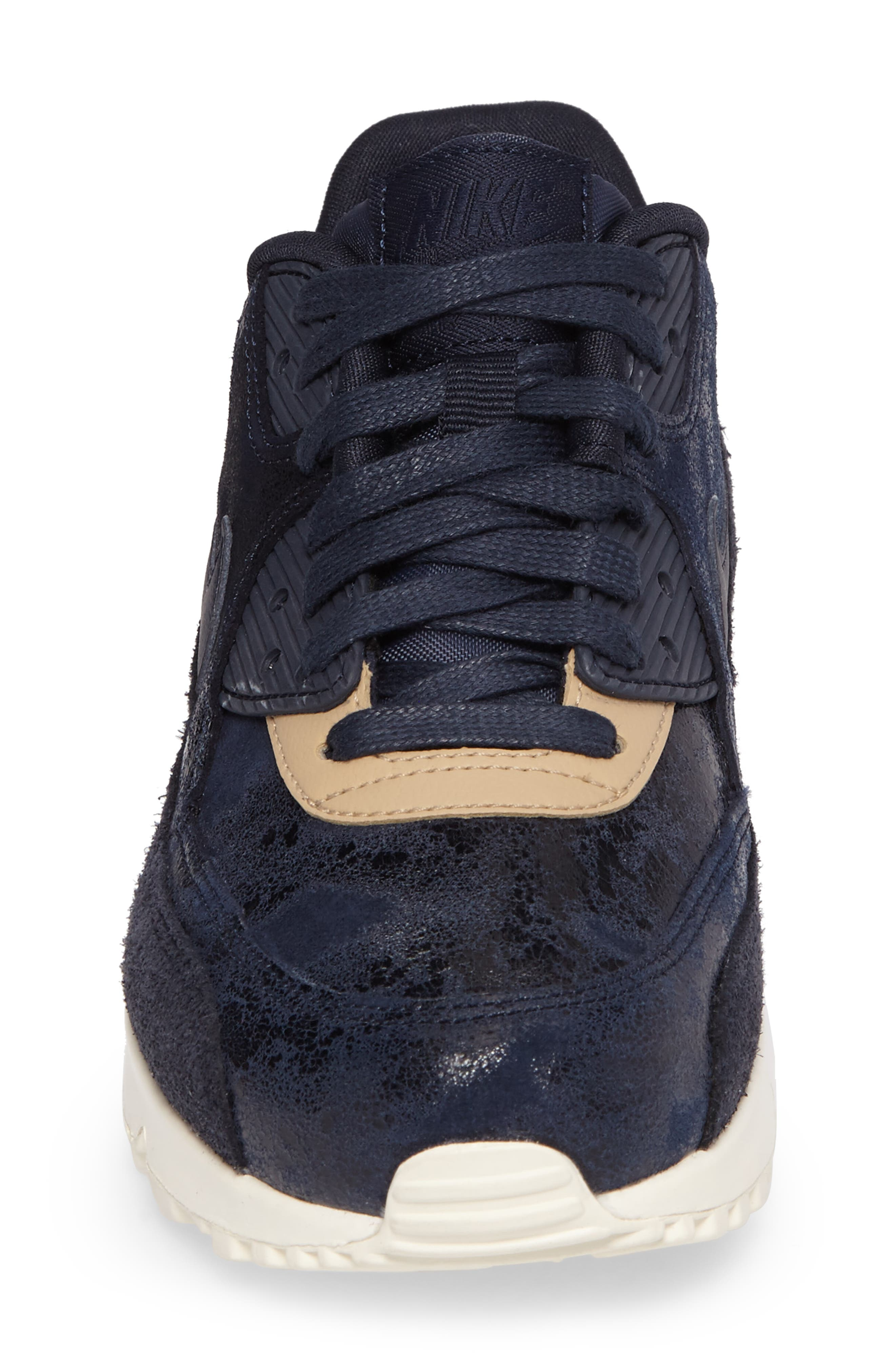Air Max 90 Premium Sneaker,                             Alternate thumbnail 4, color,                             Dark Obsidian/ Sail/ Mushroom
