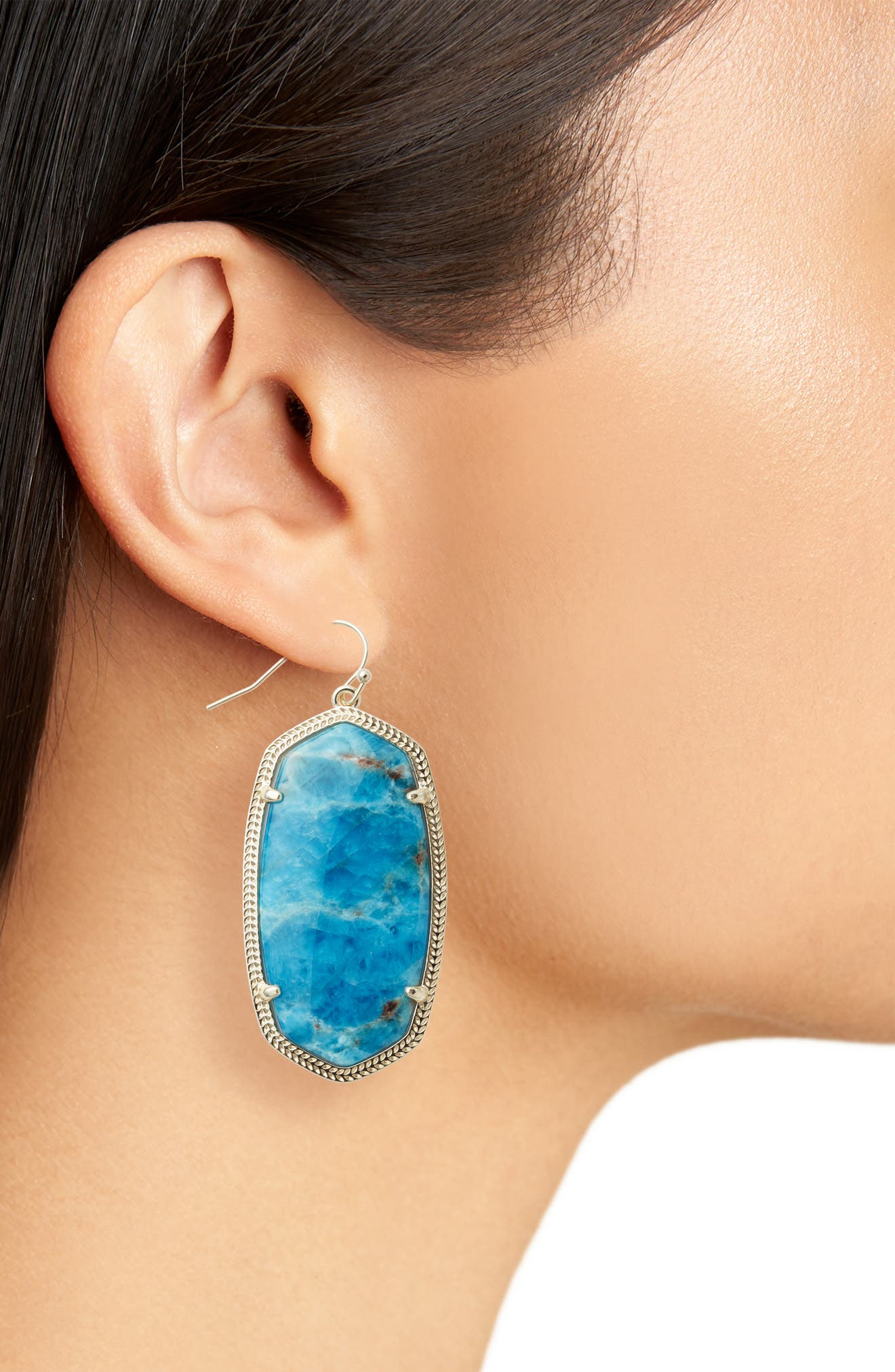 Danielle - Large Oval Statement Earrings,                             Alternate thumbnail 2, color,                             Aqua Apatite/ Brass
