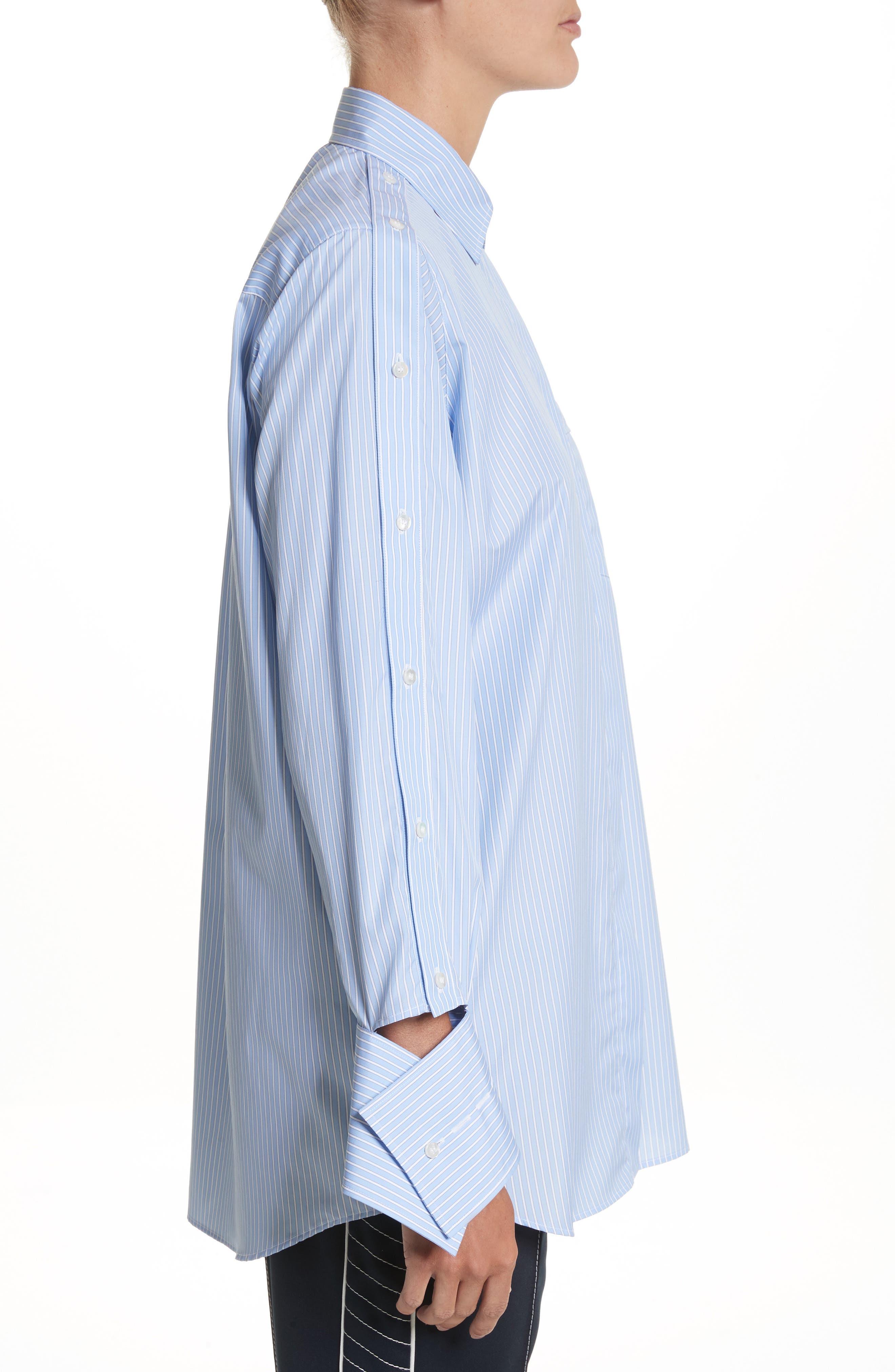 Cutaway Sleeve Cotton Poplin Shirt,                             Alternate thumbnail 3, color,                             Blue / White