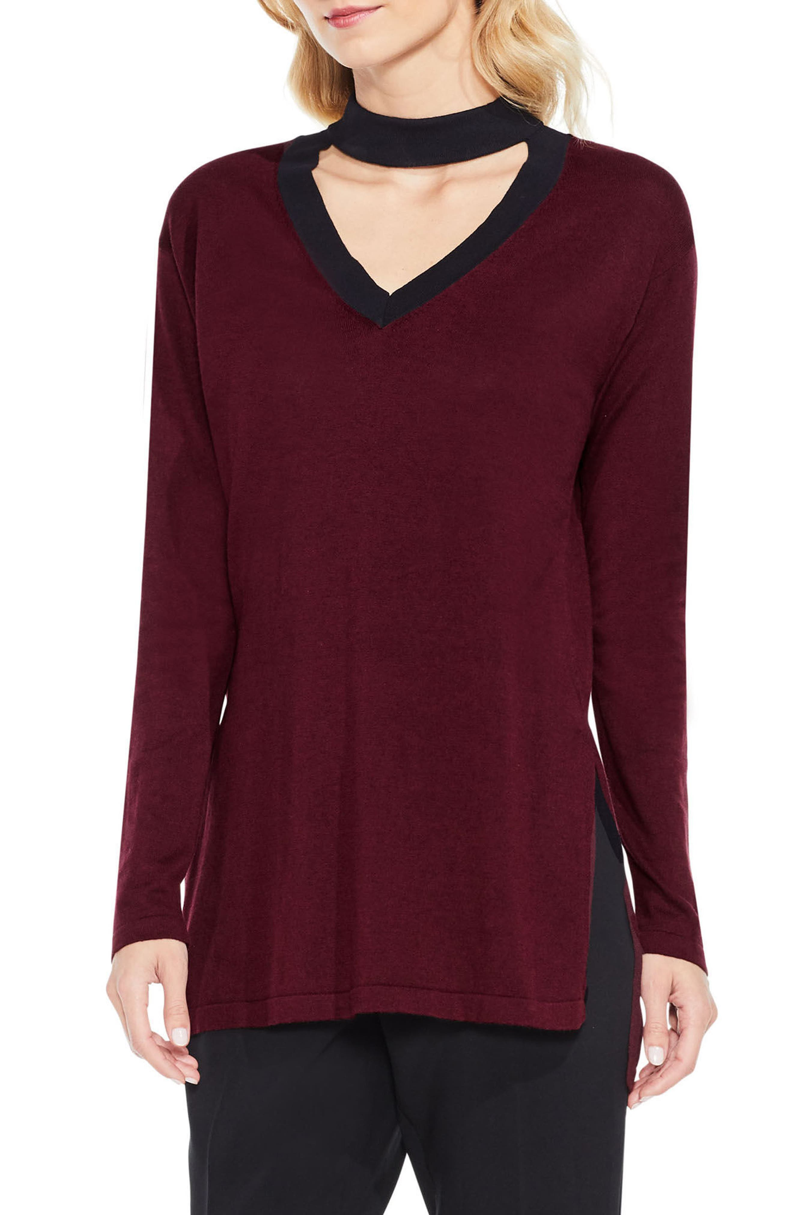 Vince Camuto Bell Sleeve Choker Neck Sweater