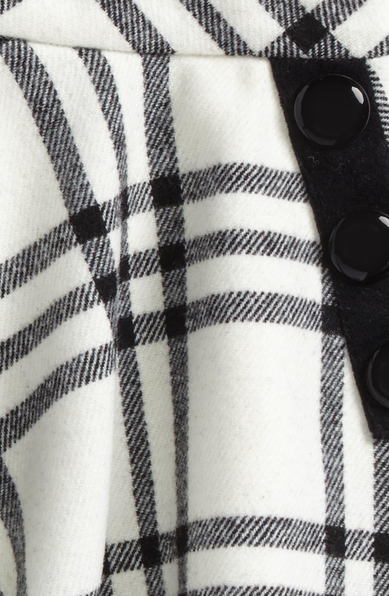 plaid wool blend skirt,                             Alternate thumbnail 2, color,                             French Cream/ Black