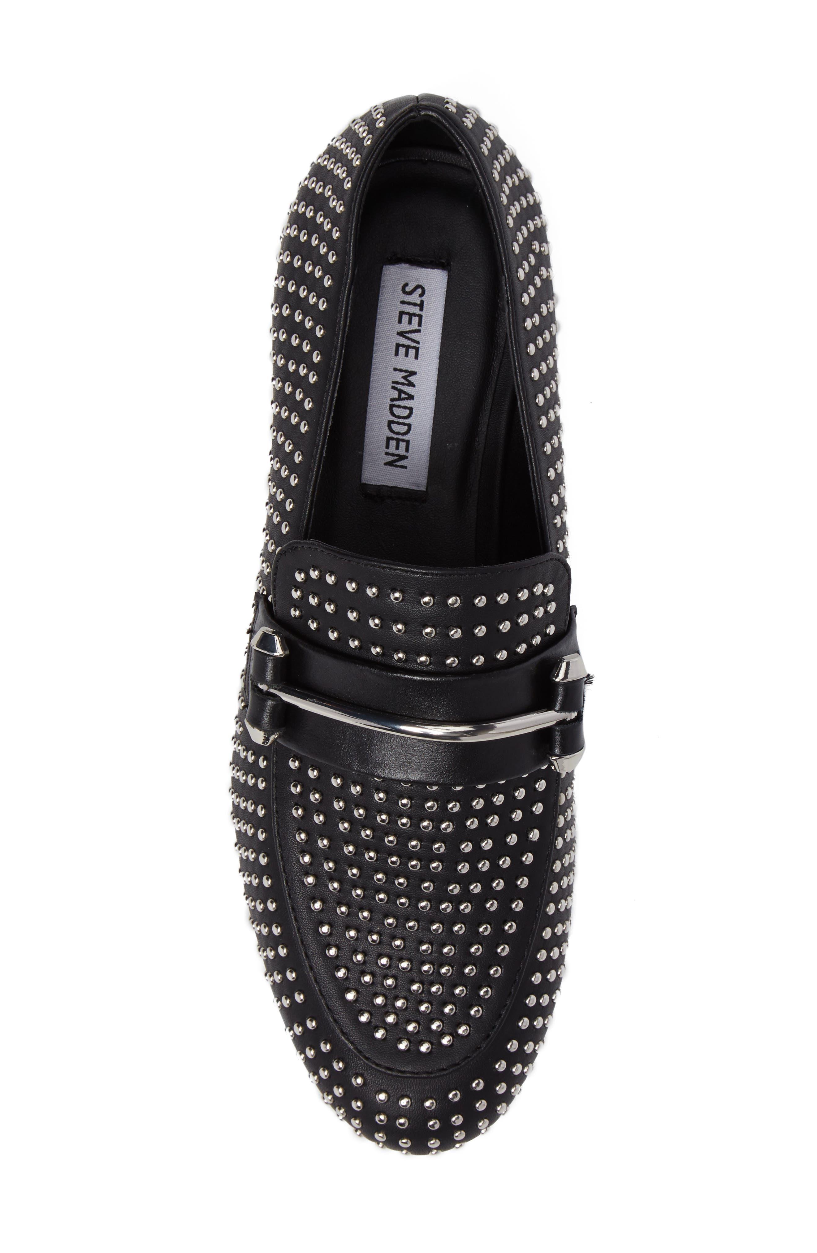 Kast Studded Loafer,                             Alternate thumbnail 5, color,                             Black Faux Leather