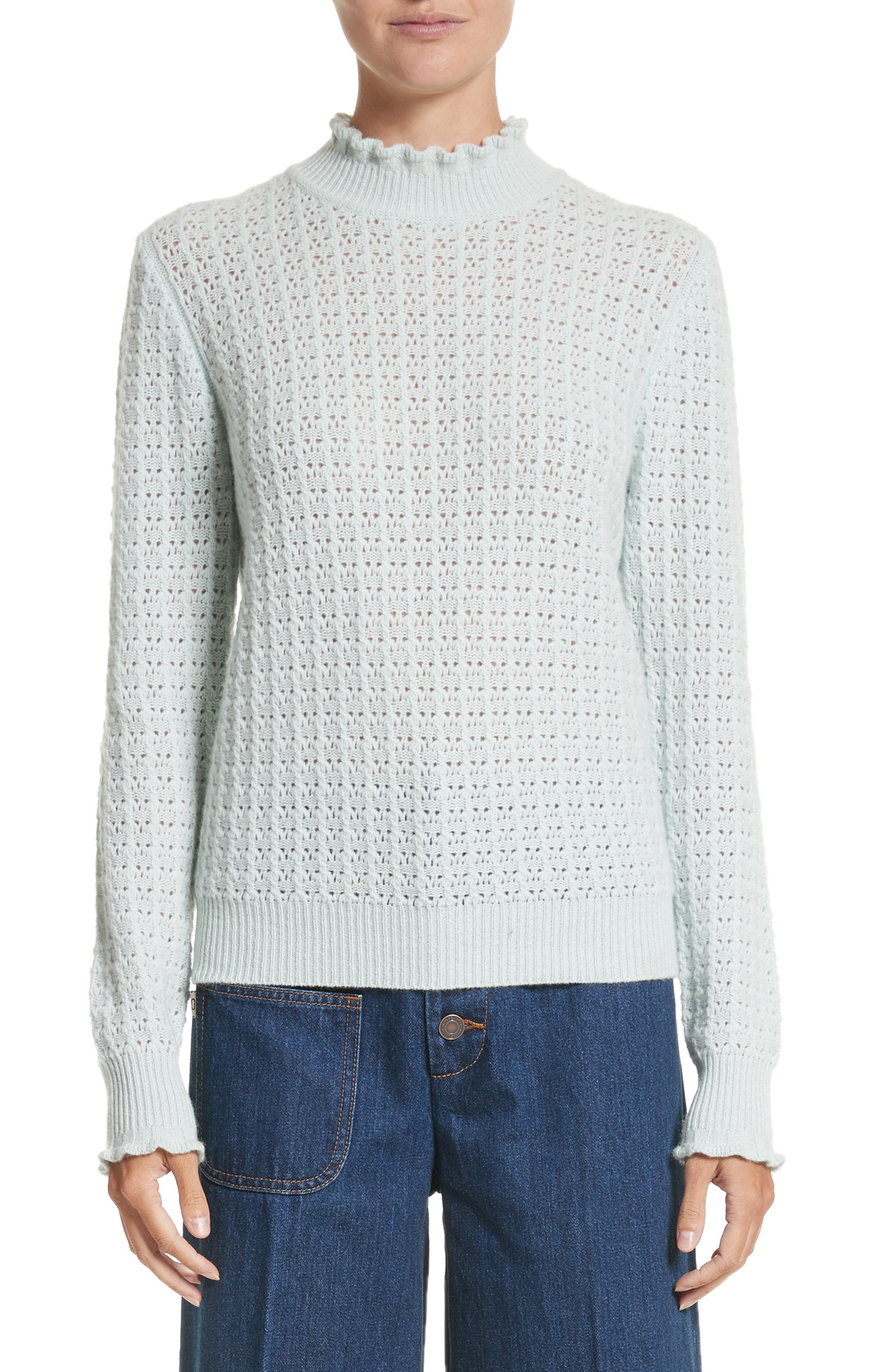 Ruffle Mock Neck Cashmere Sweater,                         Main,                         color, Pale Green