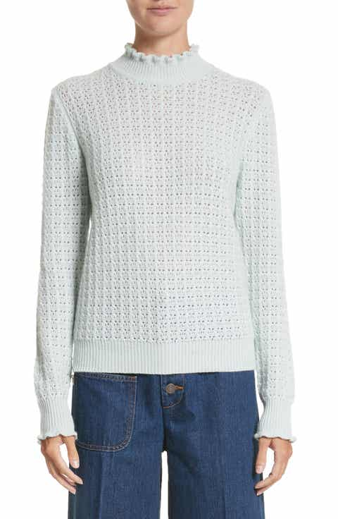 MARC JACOBS Ruffle Mock Neck Cashmere Sweater