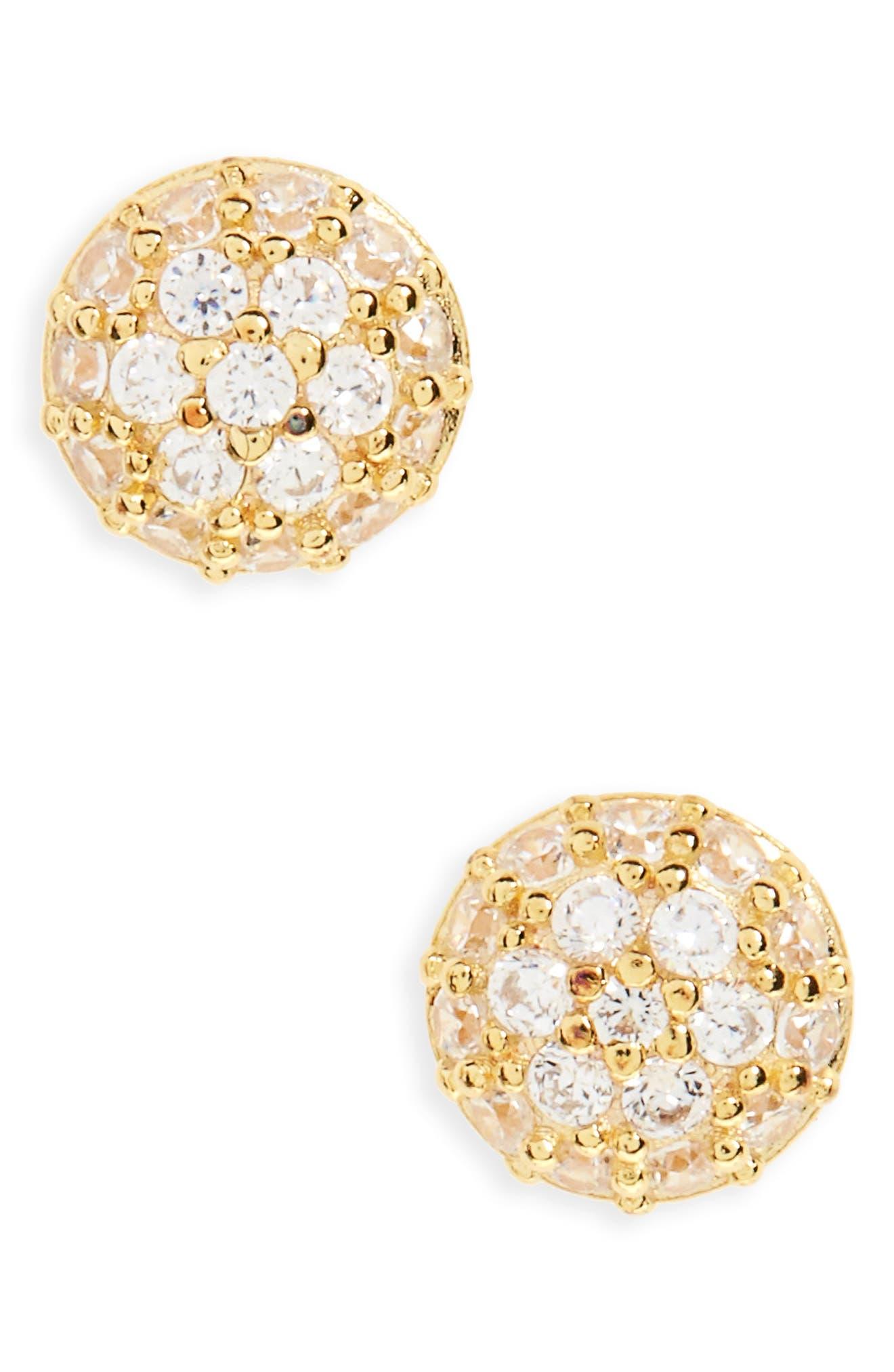 Pavé Stud Earrings,                         Main,                         color, Gold