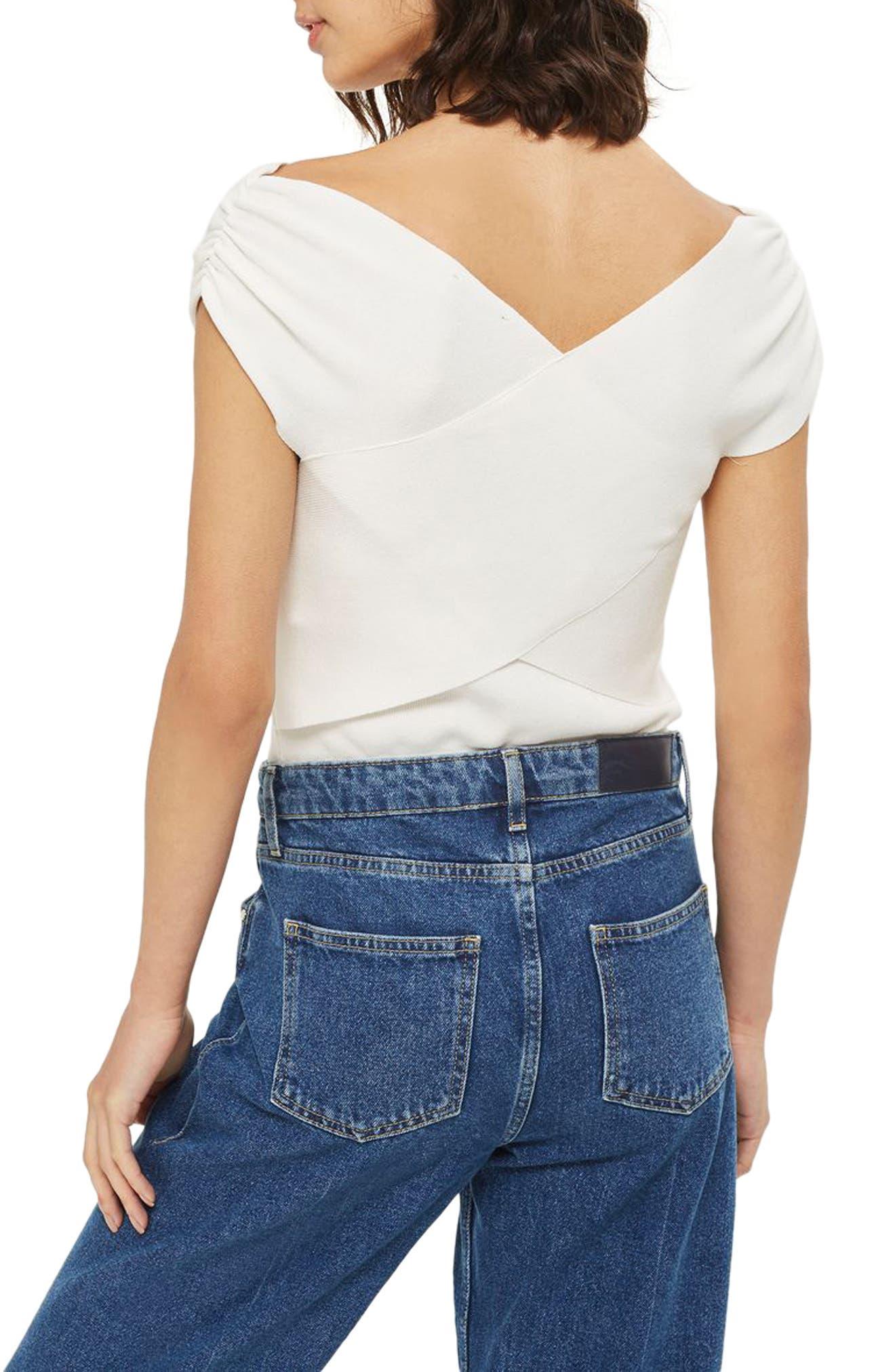 Alternate Image 2  - Topshop Ruched Shoulder Bardot Top