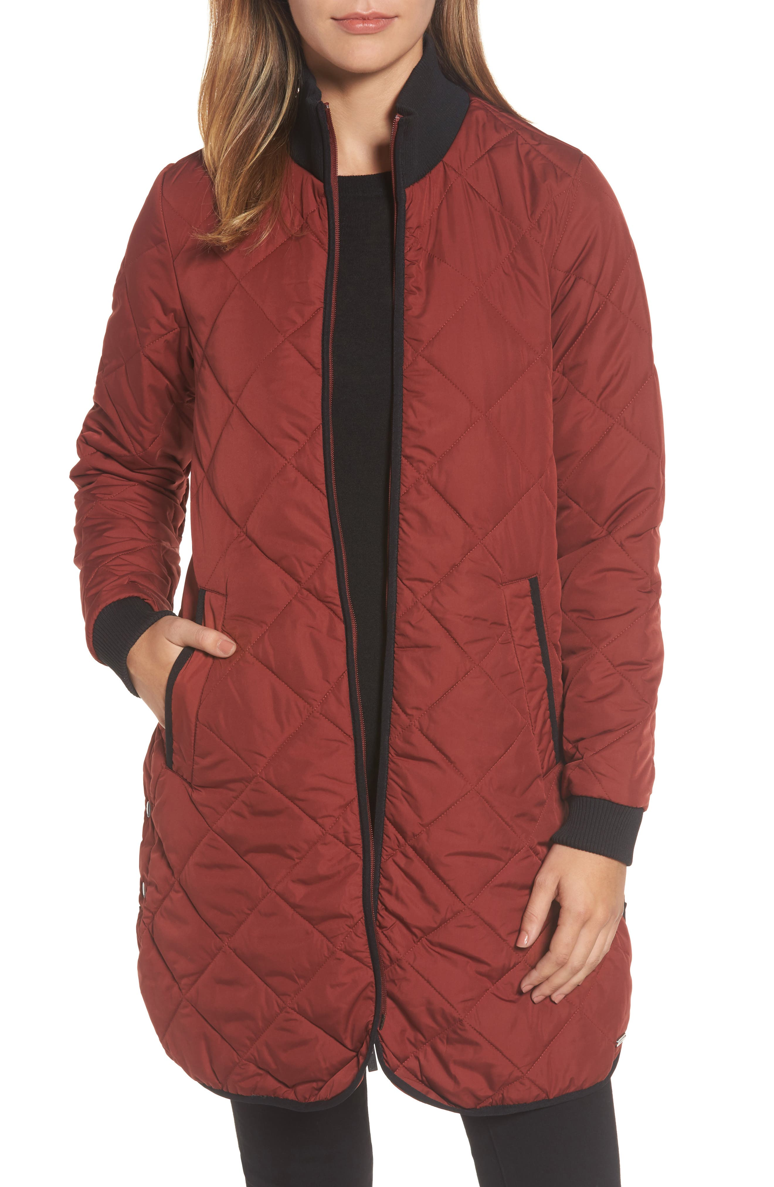 IIse Jacobsen Hornbaek Quilted Coat,                             Main thumbnail 1, color,                             Brick Red