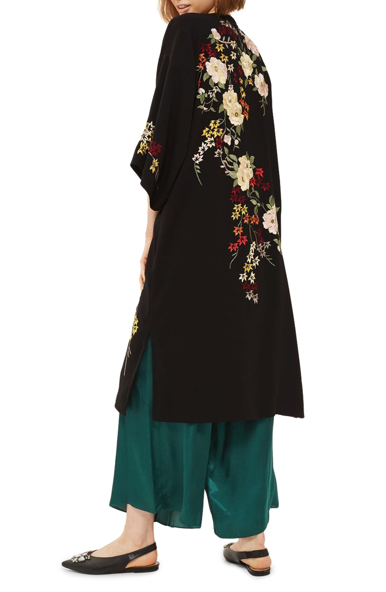 Floral Embroidered Kimono,                             Alternate thumbnail 2, color,                             Black Multi
