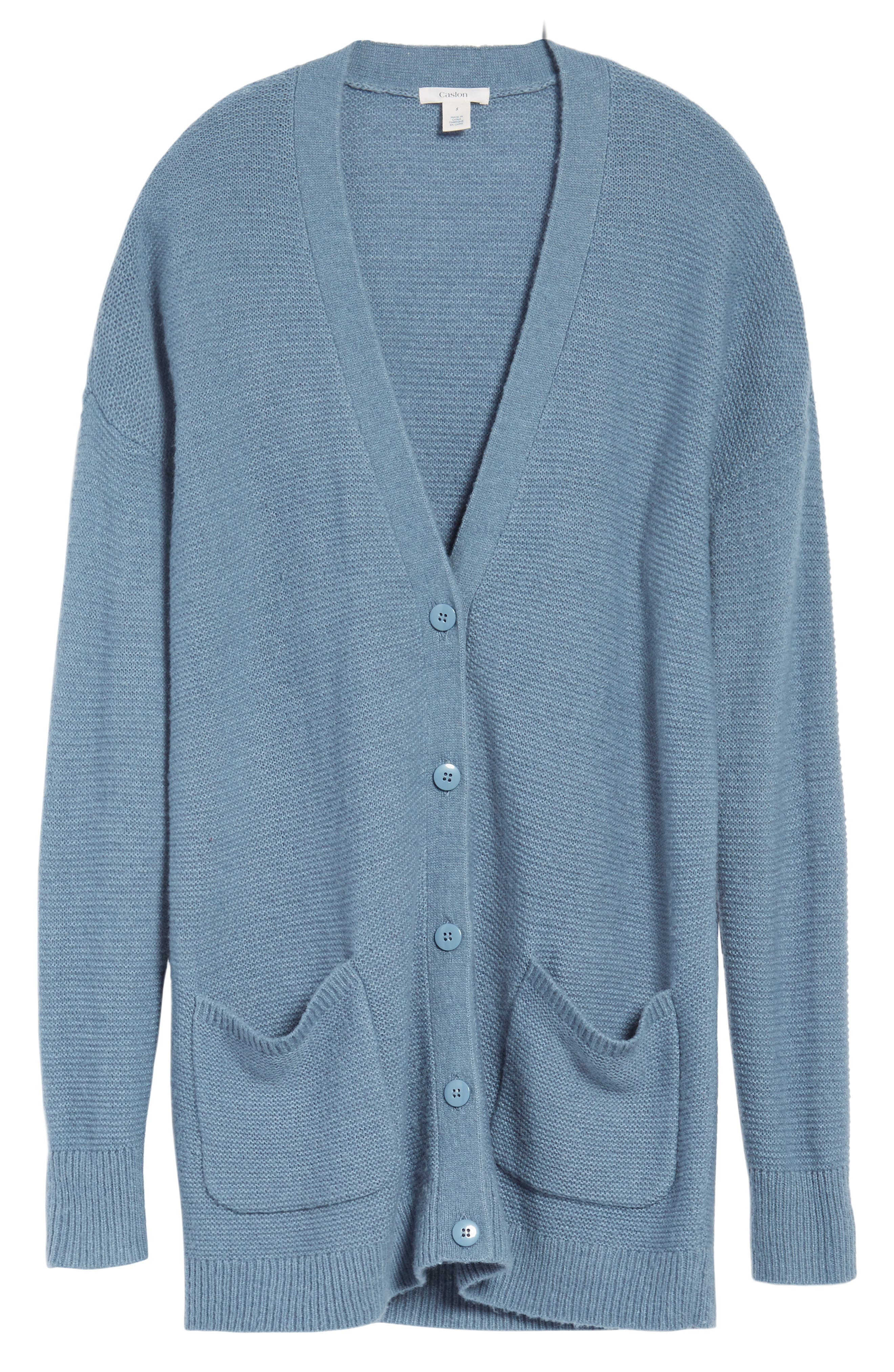 Relaxed Boyfriend Cardigan,                             Alternate thumbnail 6, color,                             Blue
