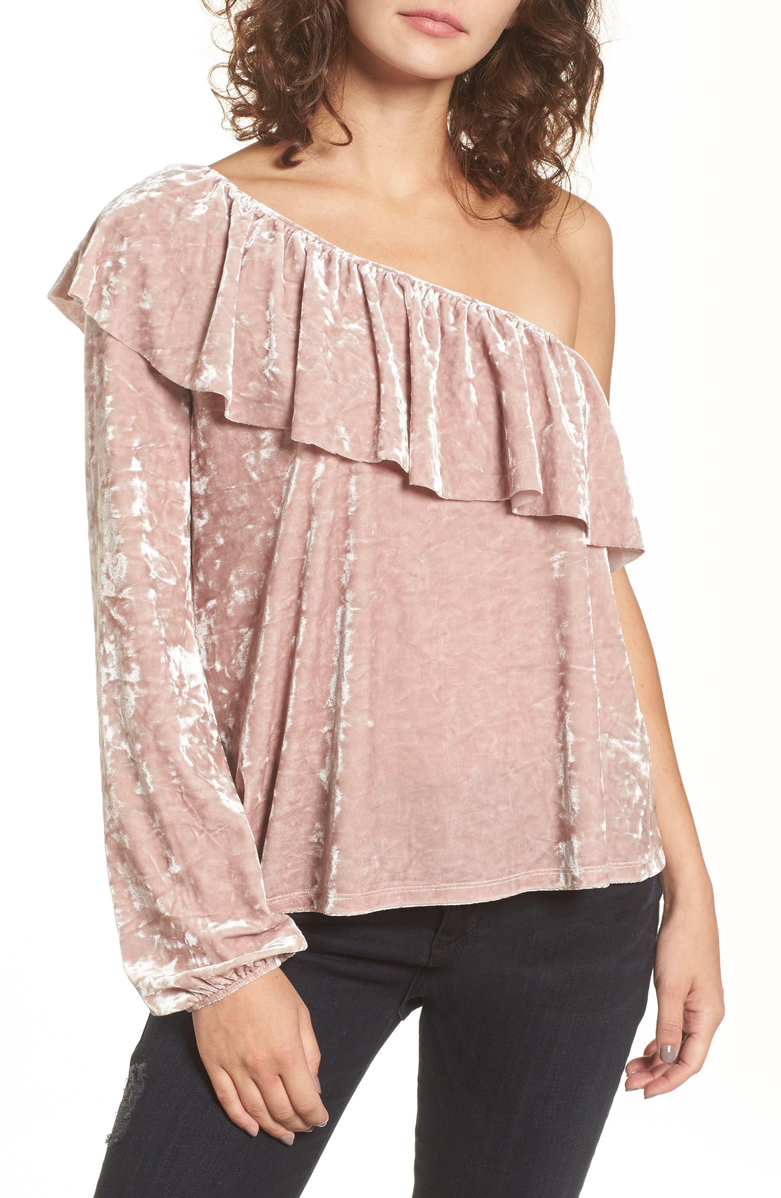 Velour One-Shoulder Top,                         Main,                         color, Pink Adobe