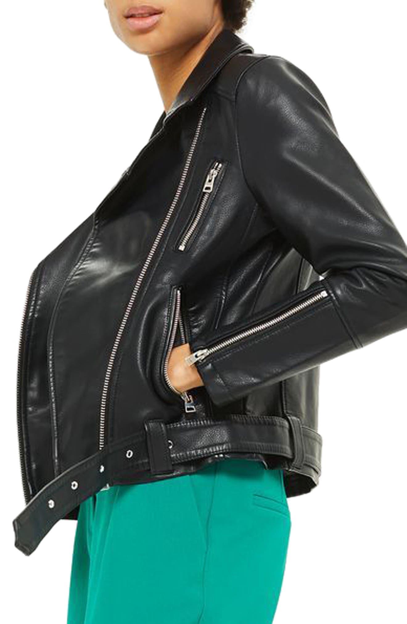 Willow Faux Leather Biker Jacket,                             Alternate thumbnail 3, color,                             Black