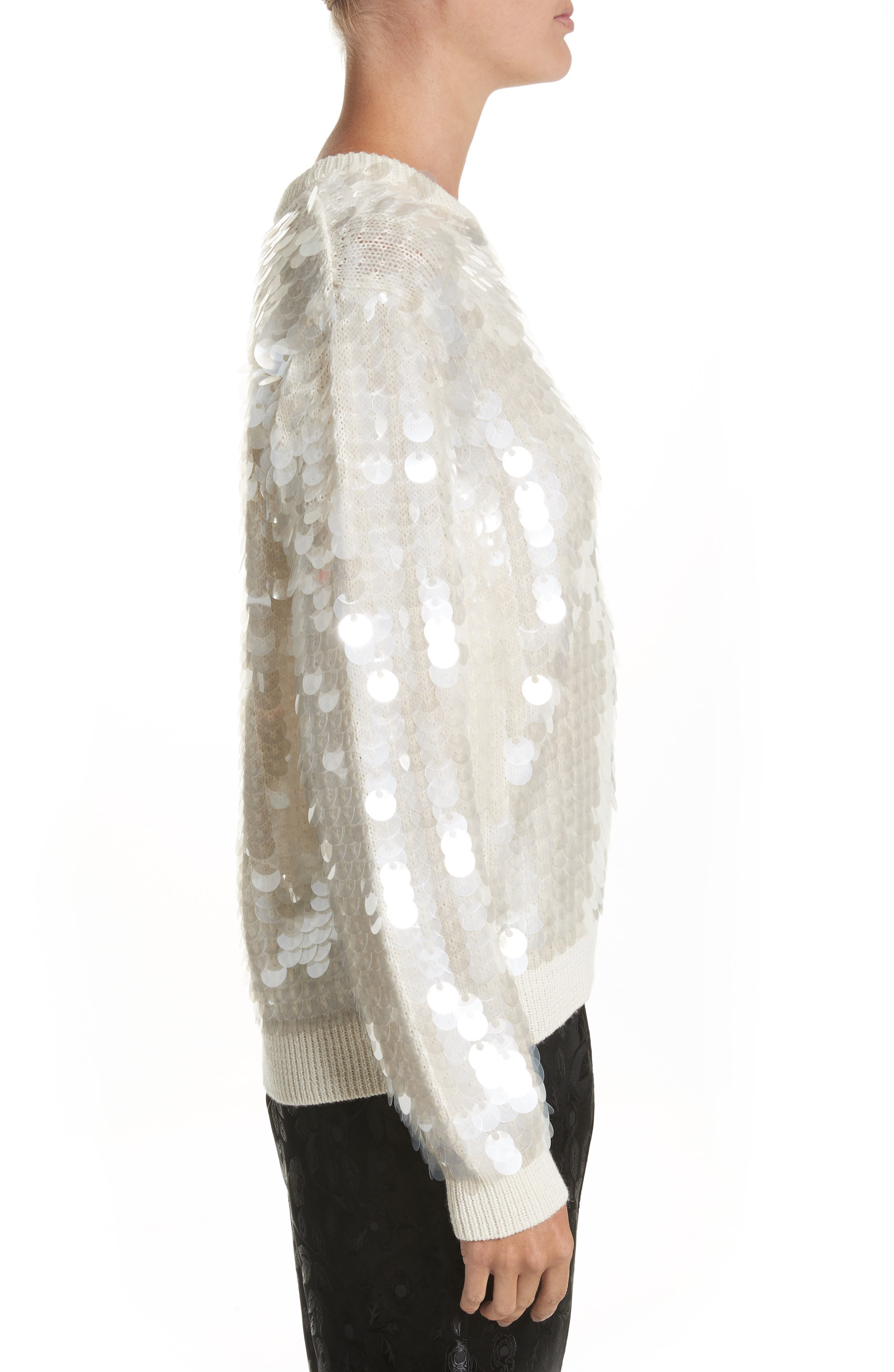 Sequin Wool Sweater,                             Alternate thumbnail 3, color,                             Ivory