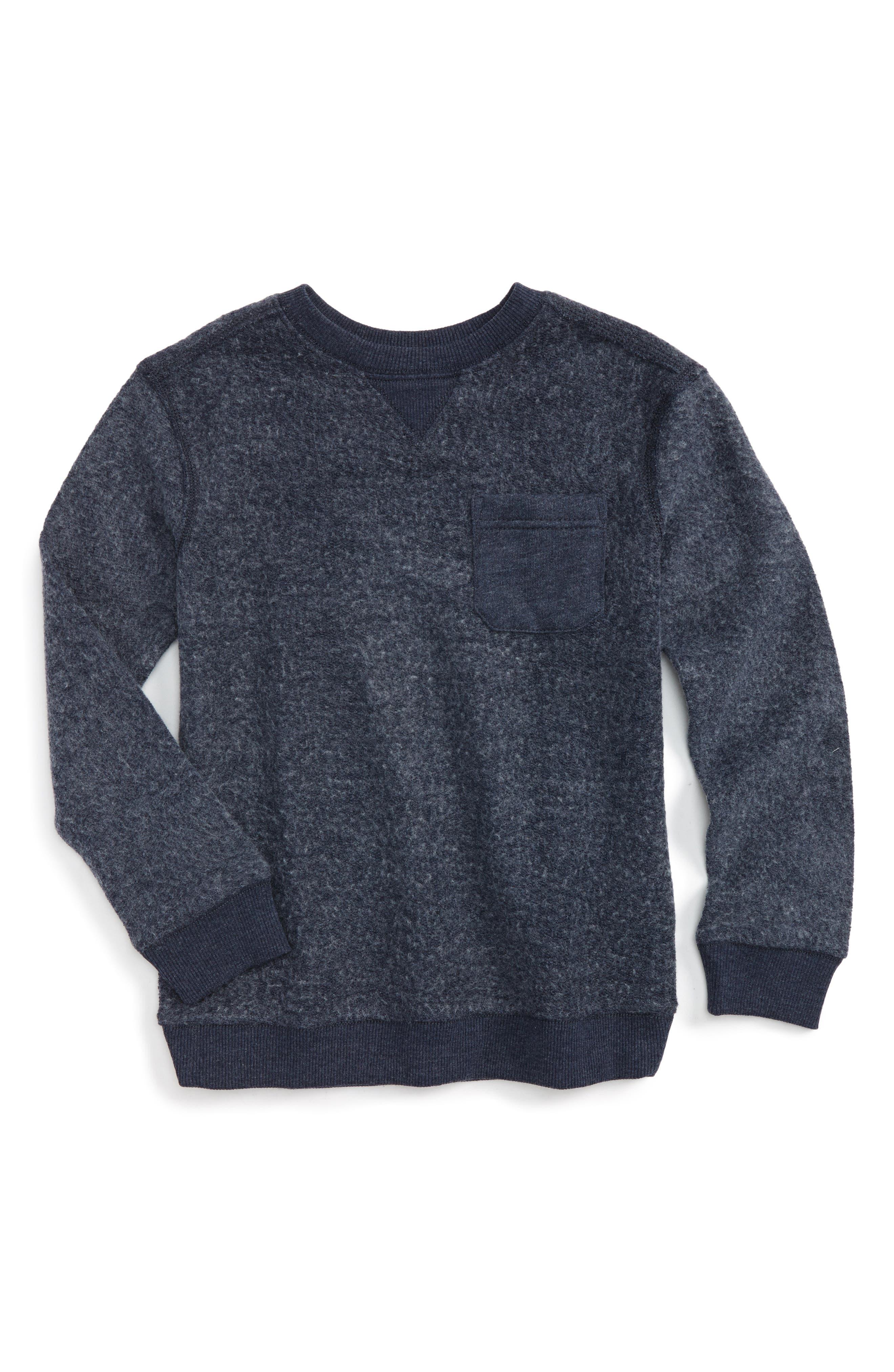 Fleece Sweatshirt,                         Main,                         color, Navy Denim