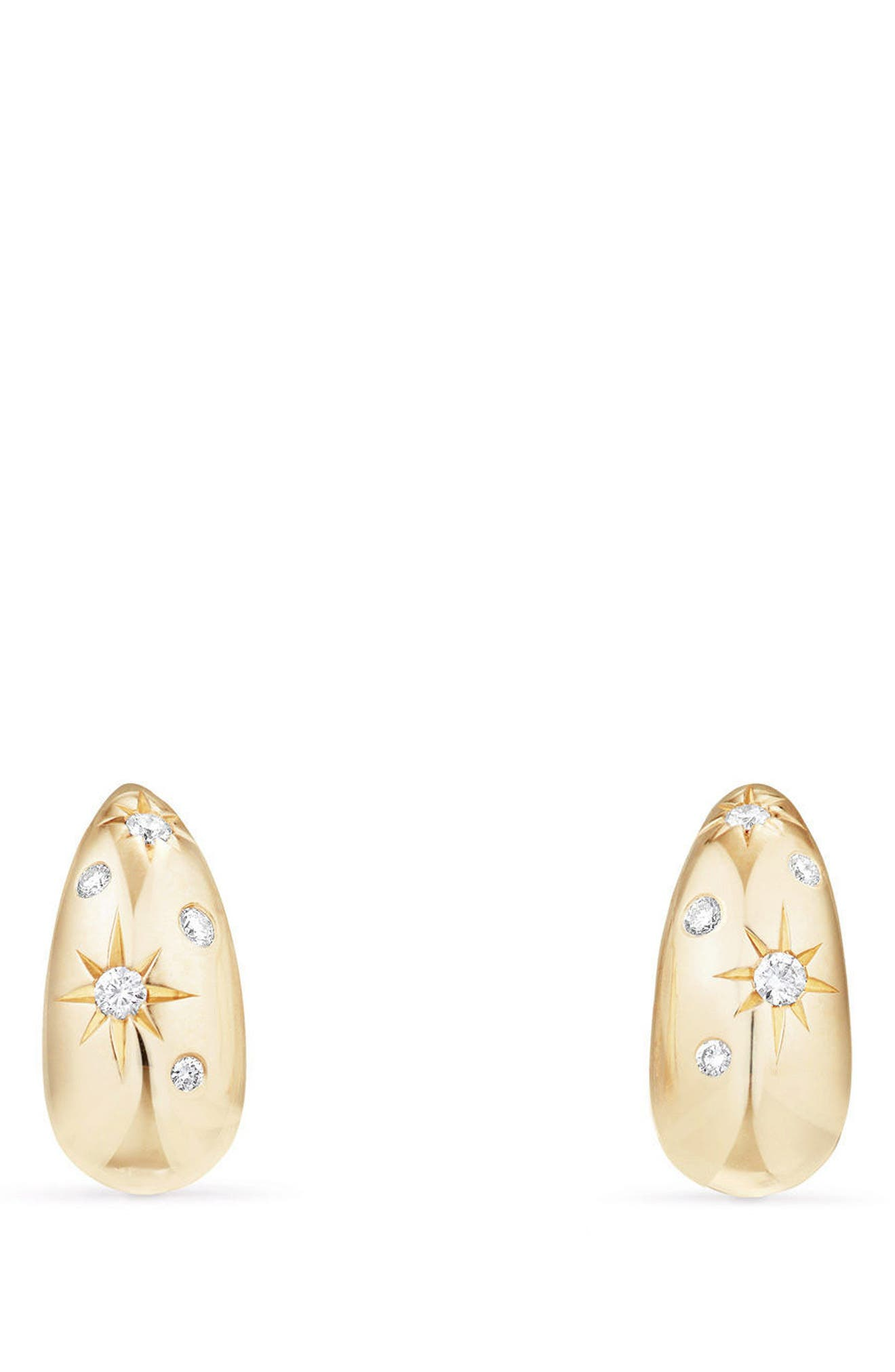 David Yurman Pure Form Pod Earrings with Diamonds in 18K Gold, 15mm