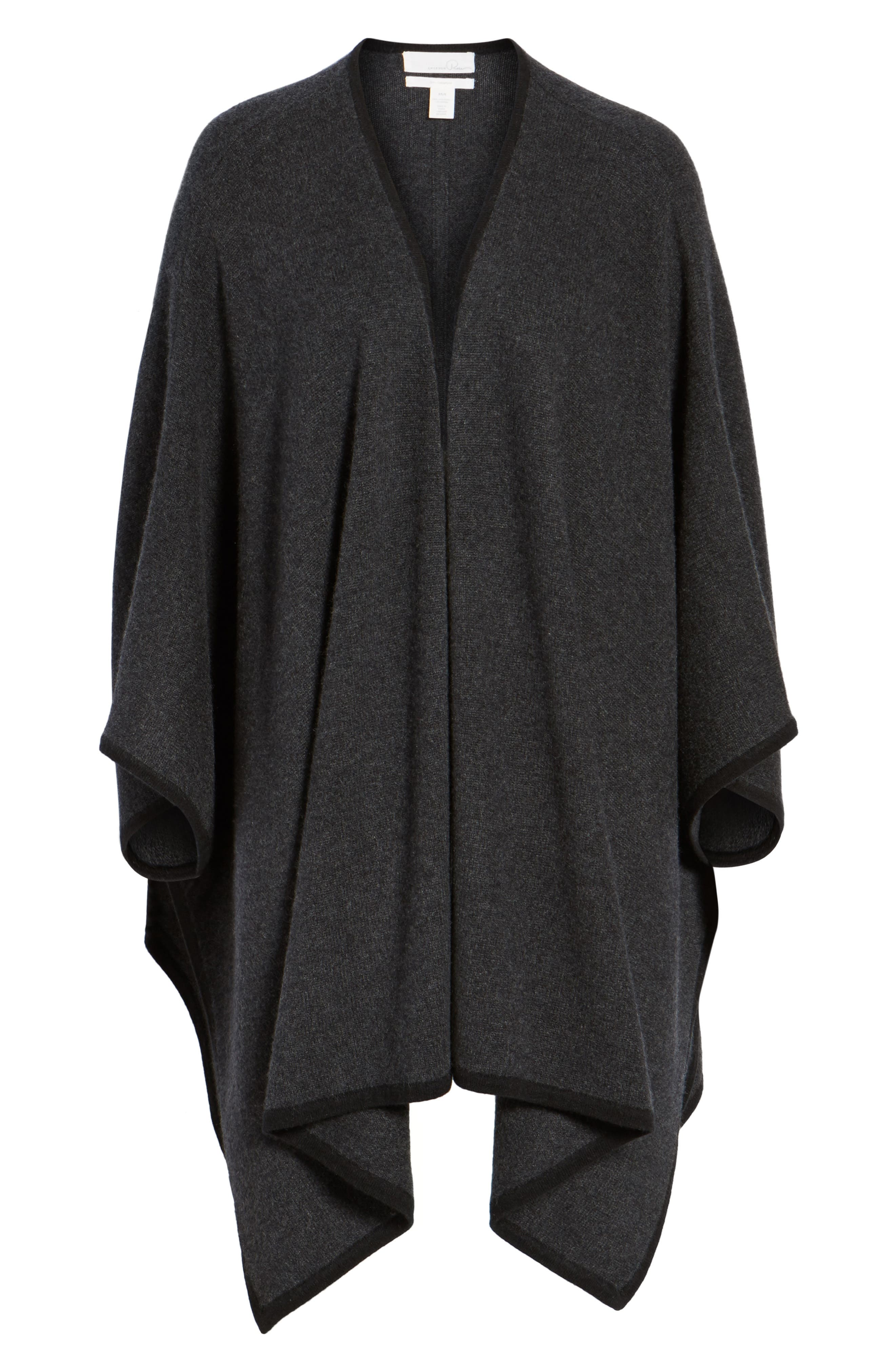 Cashmere Cape,                             Alternate thumbnail 6, color,                             Grey Dark Charcoal Heather