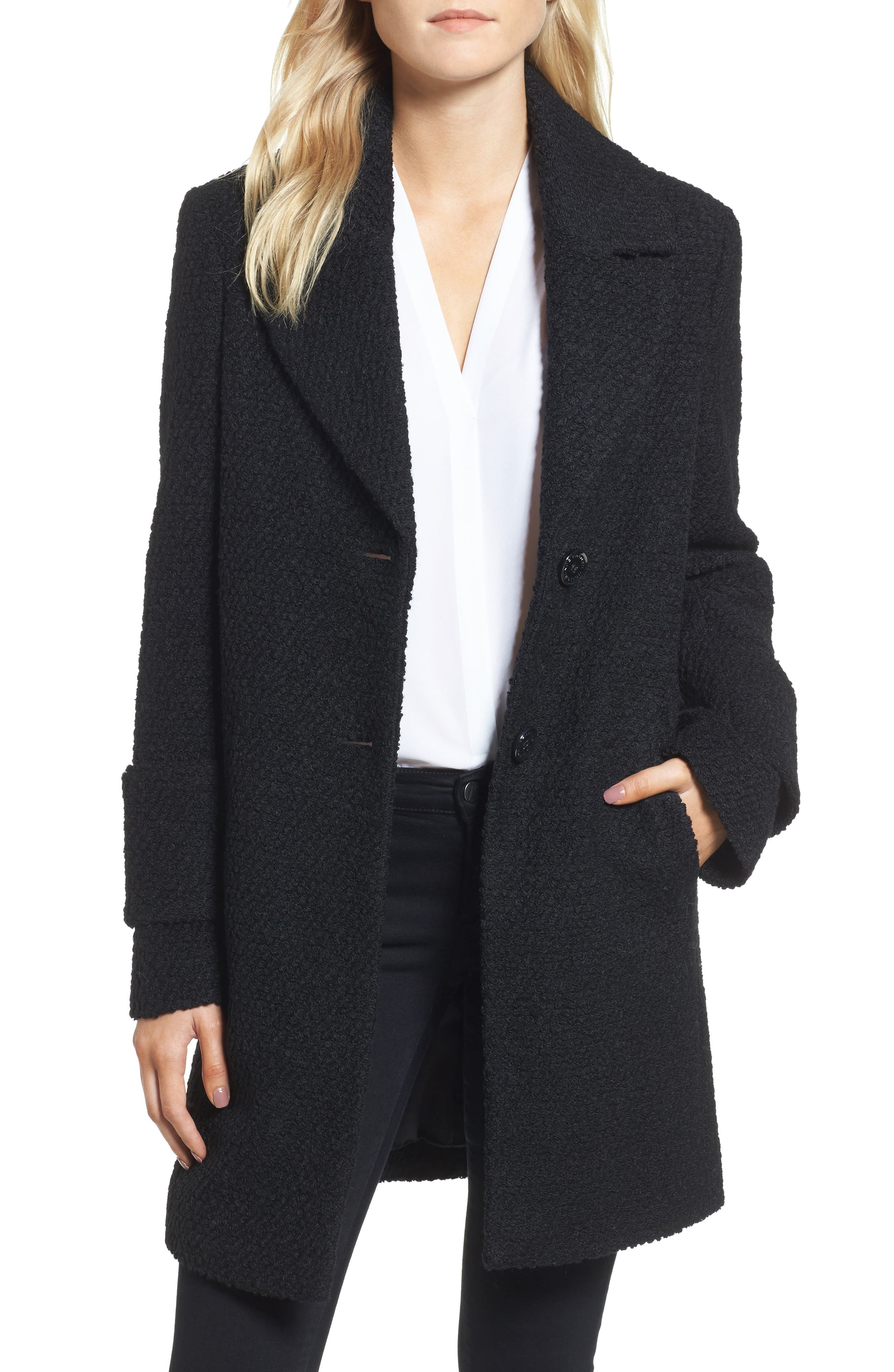 Alternate Image 1 Selected - French Connection Notch Collar Bouclé Car Coat