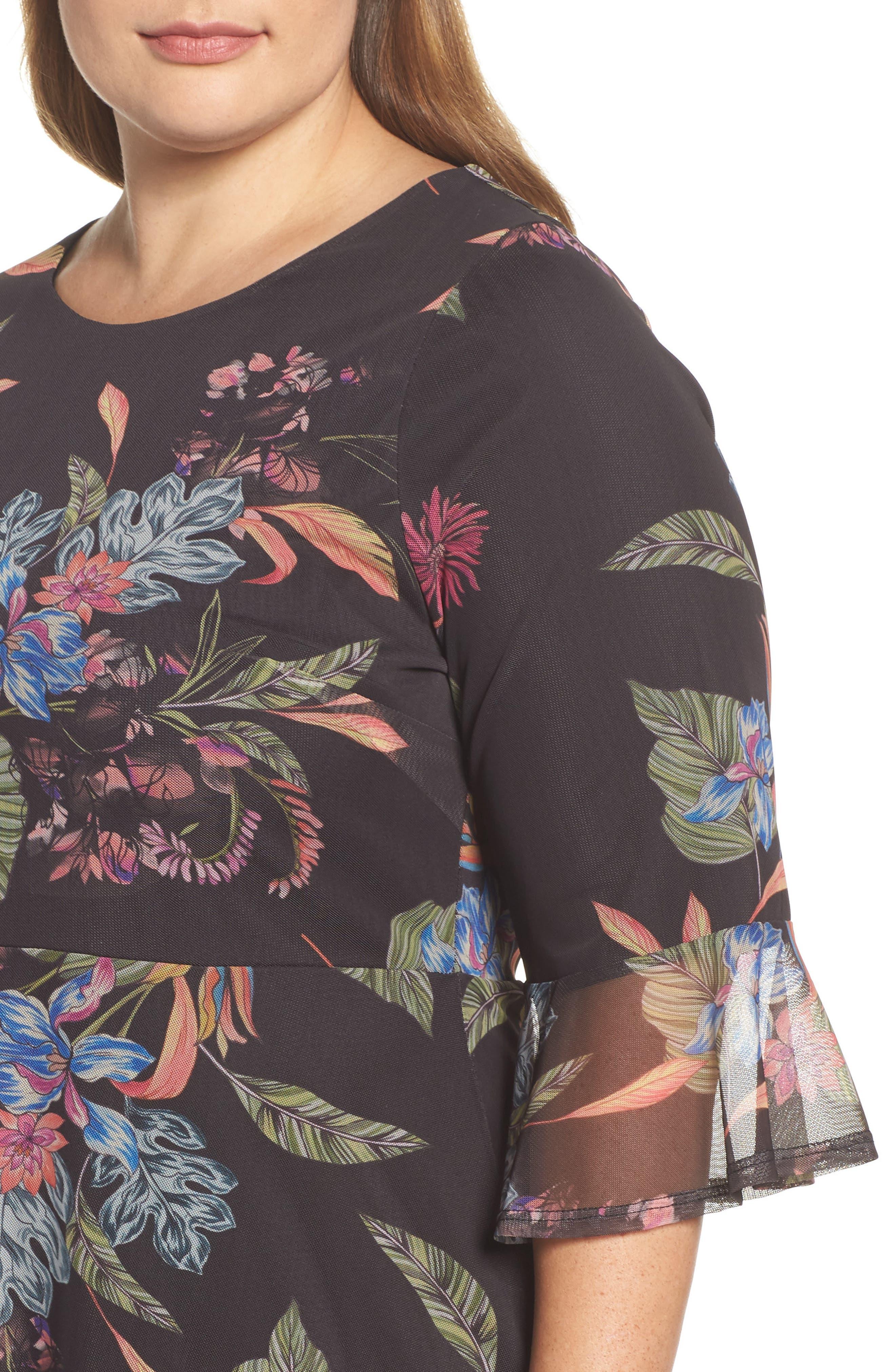 Tropic Print Mesh Dress,                             Alternate thumbnail 4, color,                             Dark Multi