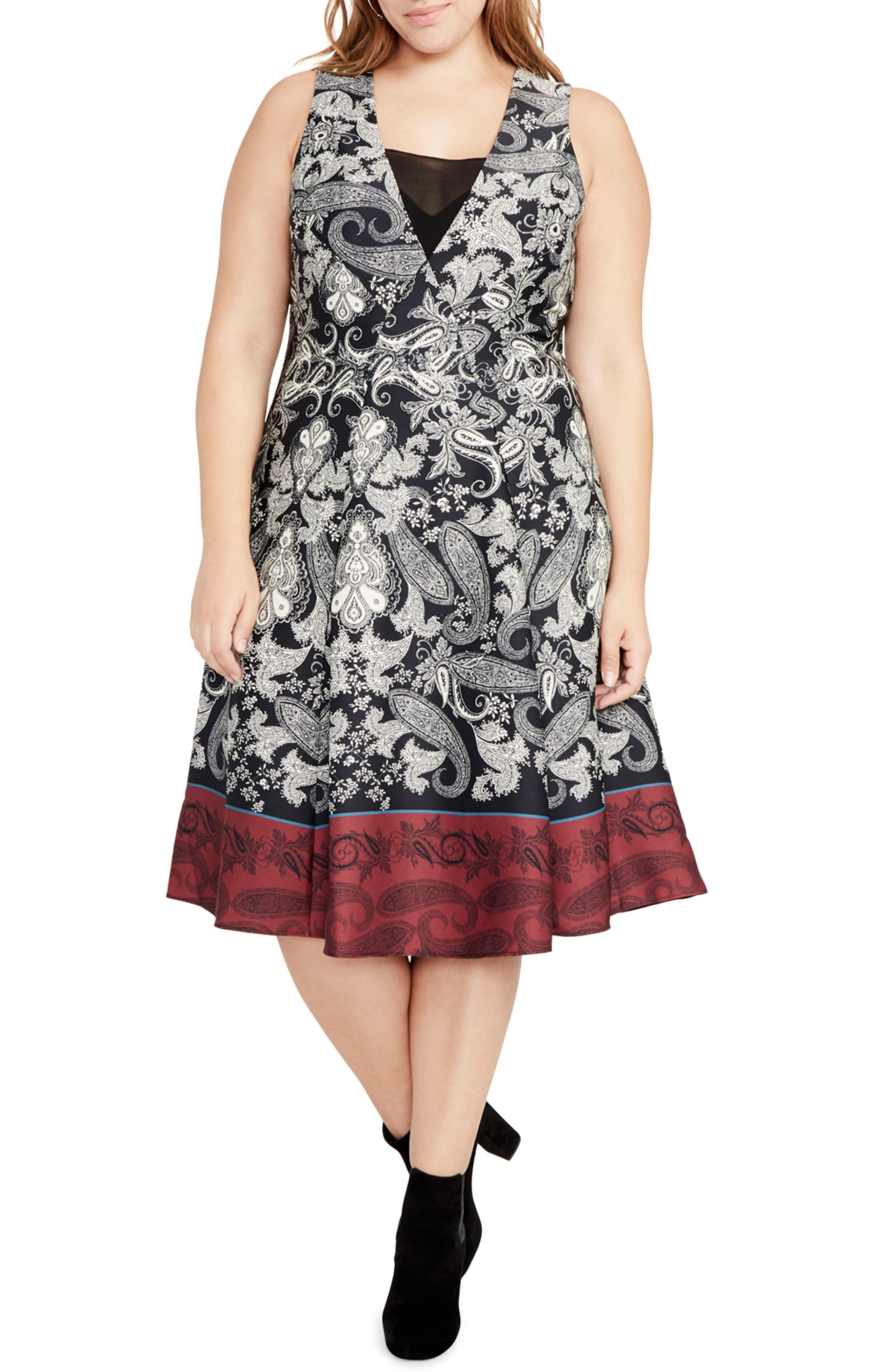 Paisley Fit & Flare Dress,                         Main,                         color, Black/ Port Combo