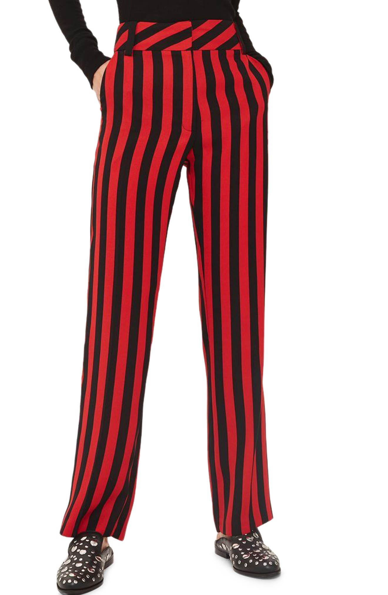 Humbug Stripe Trousers,                             Main thumbnail 1, color,                             Red Multi