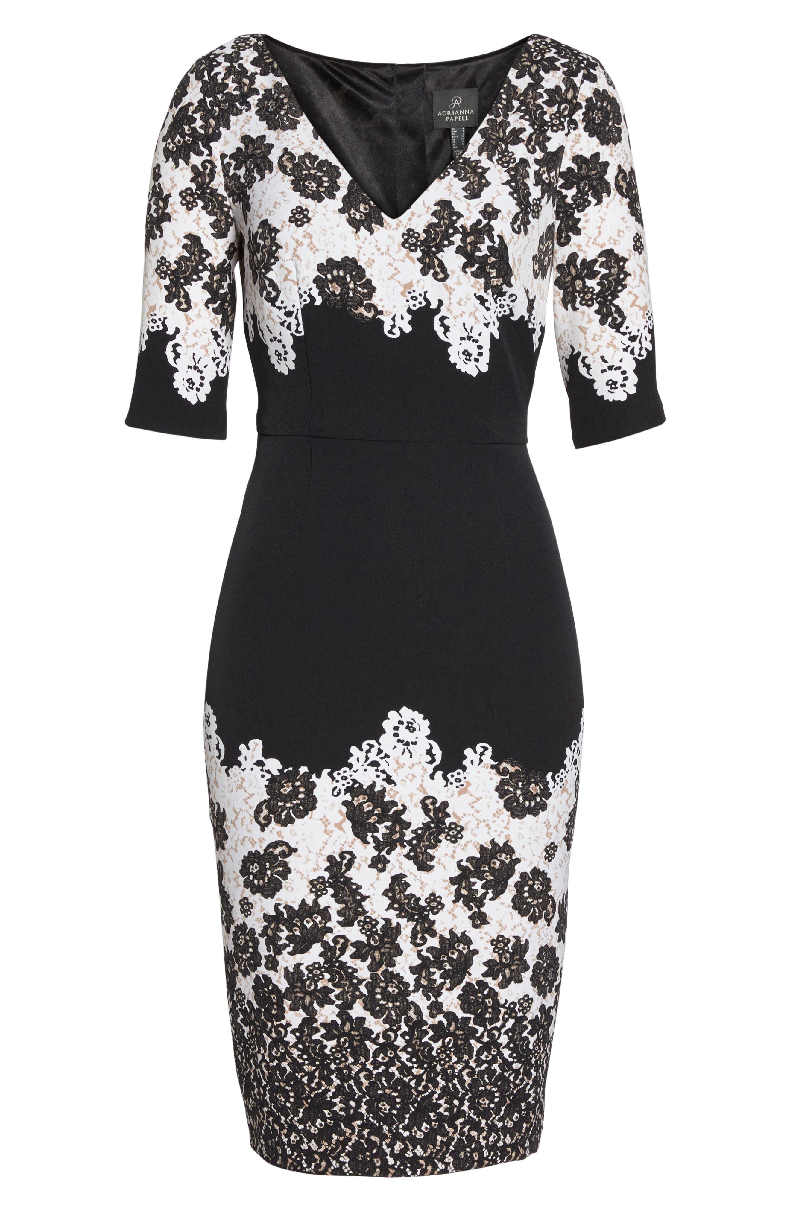 Print Sheath Dress,                             Alternate thumbnail 6, color,                             Black Multi
