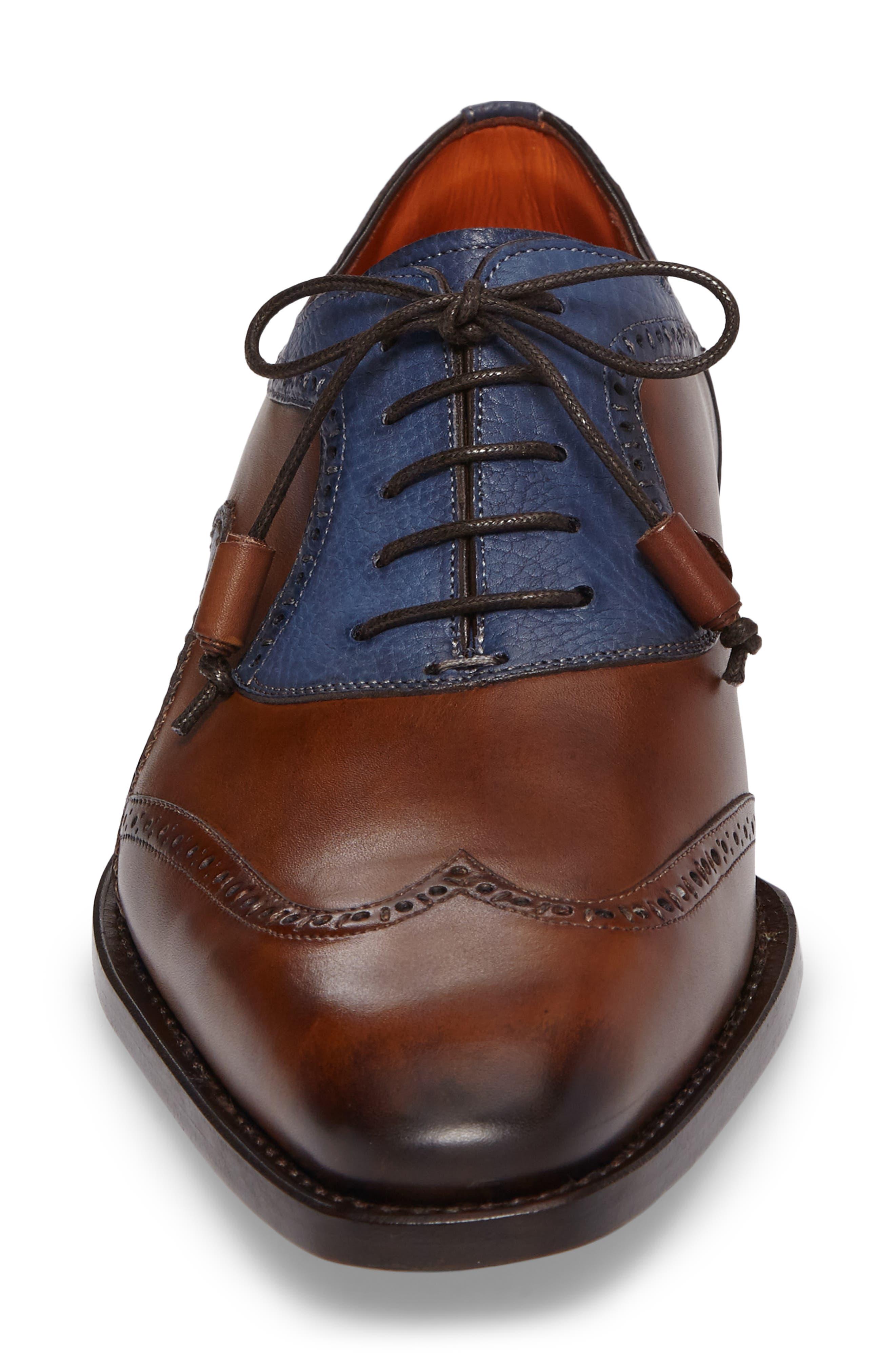 Conil Wingtip,                             Alternate thumbnail 4, color,                             Cognac/ Blue Leather