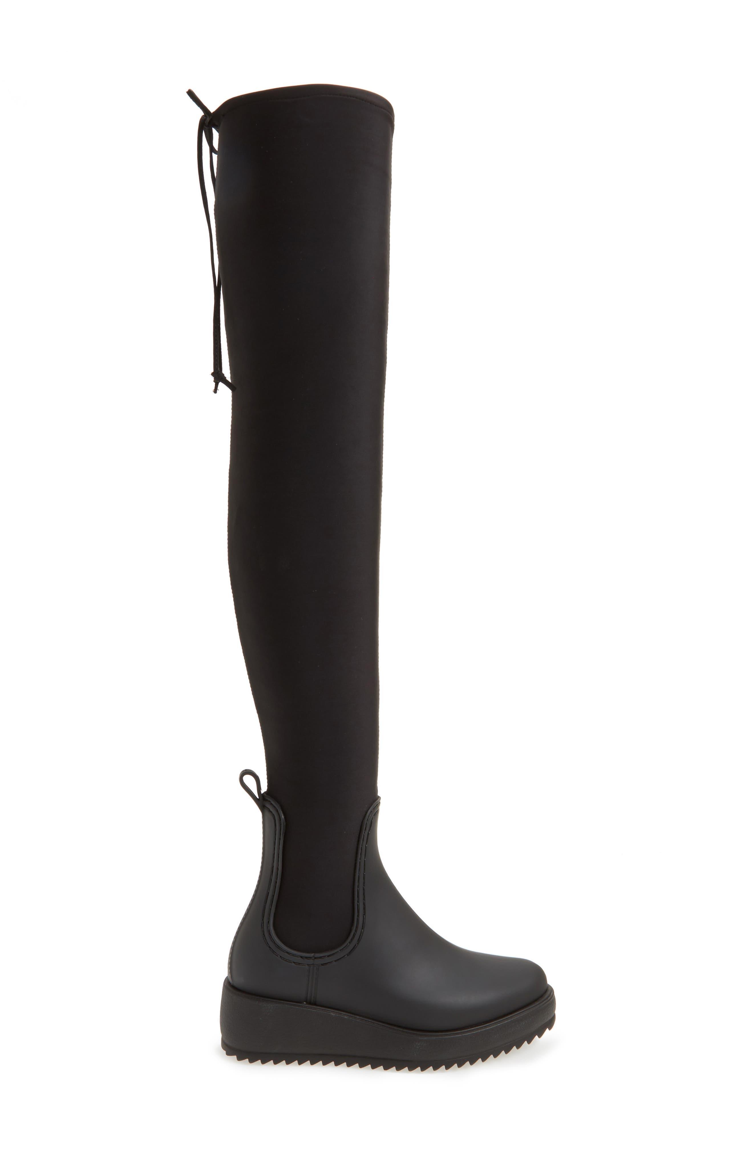 Monsoon Over the Knee Platform Rain Boot,                             Alternate thumbnail 3, color,                             Black Black Neoprene