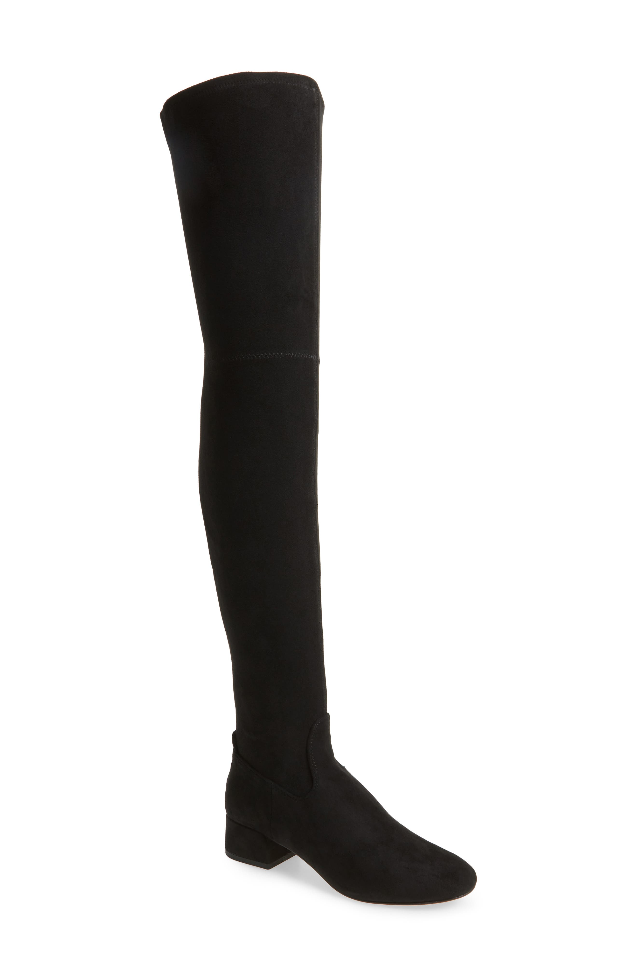 Jimmy Thigh High Boot,                         Main,                         color, Black Suede