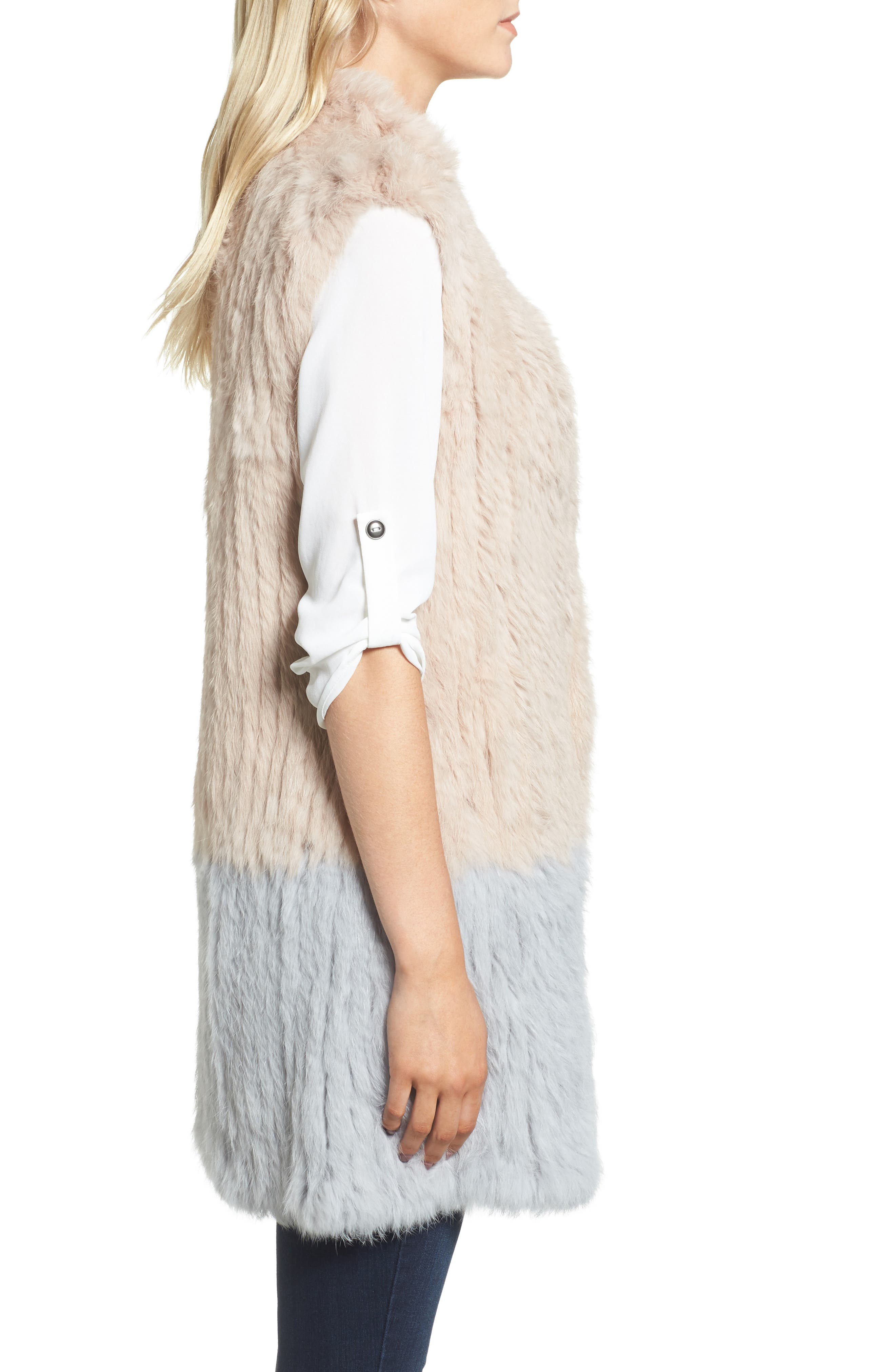 Clean Colorblock Genuine Rabbit Fur Vest,                             Alternate thumbnail 3, color,                             Blush/ Grey