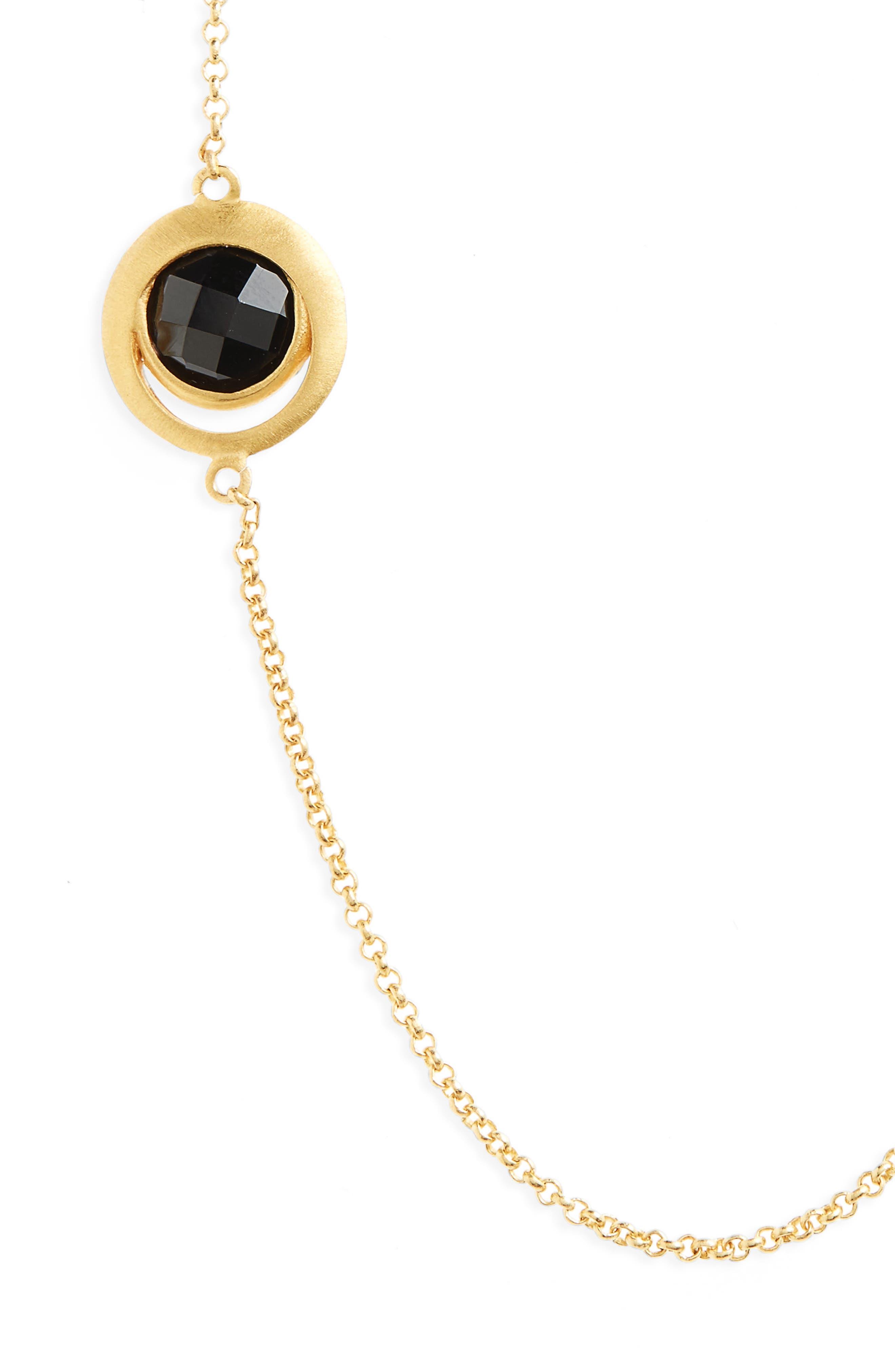 Lapa Semiprecious Stone Station Necklace,                             Alternate thumbnail 2, color,                             Black Onyx/ Gold