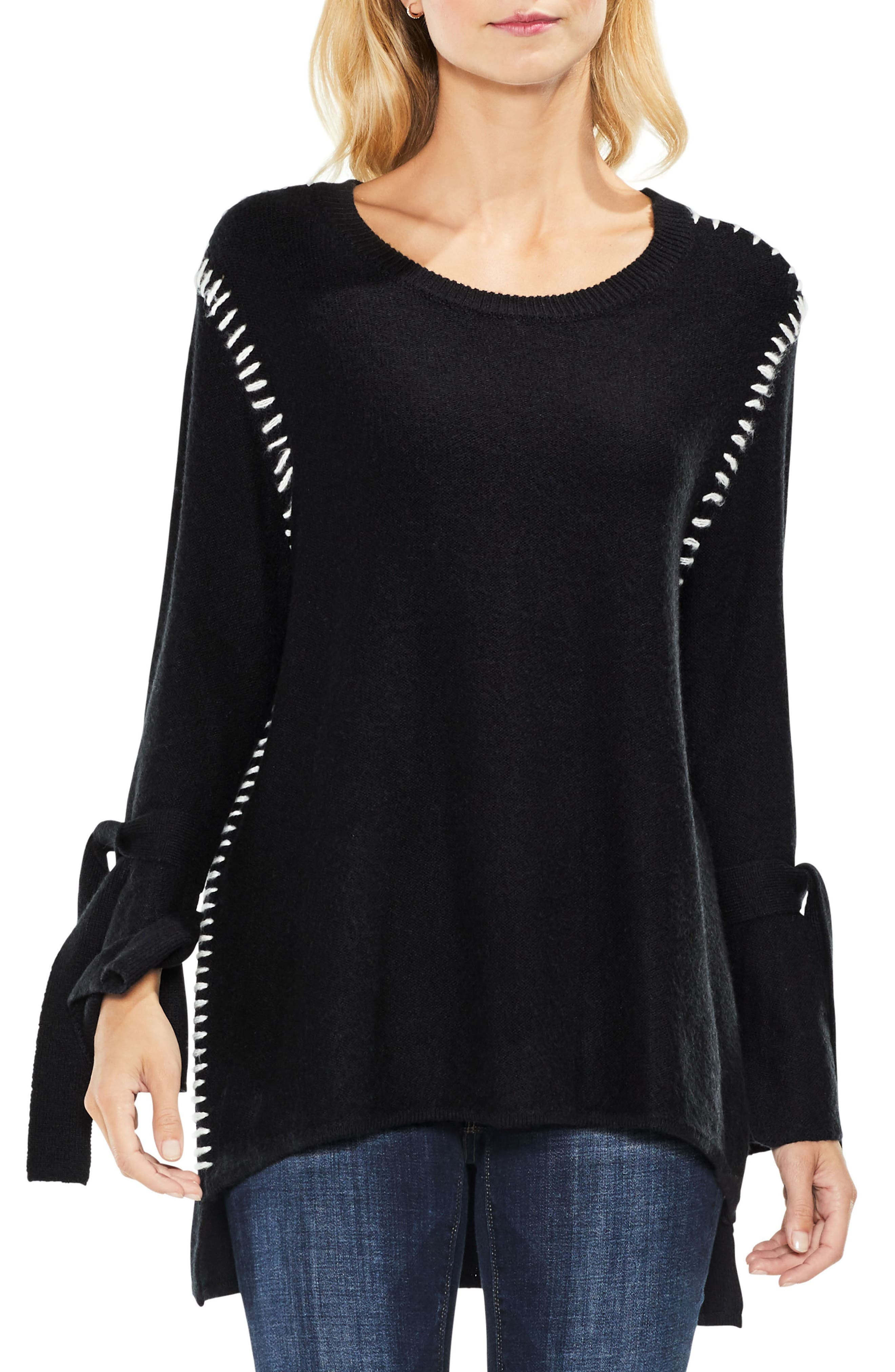 Tie Sleeve Sweater,                         Main,                         color, Rich Black
