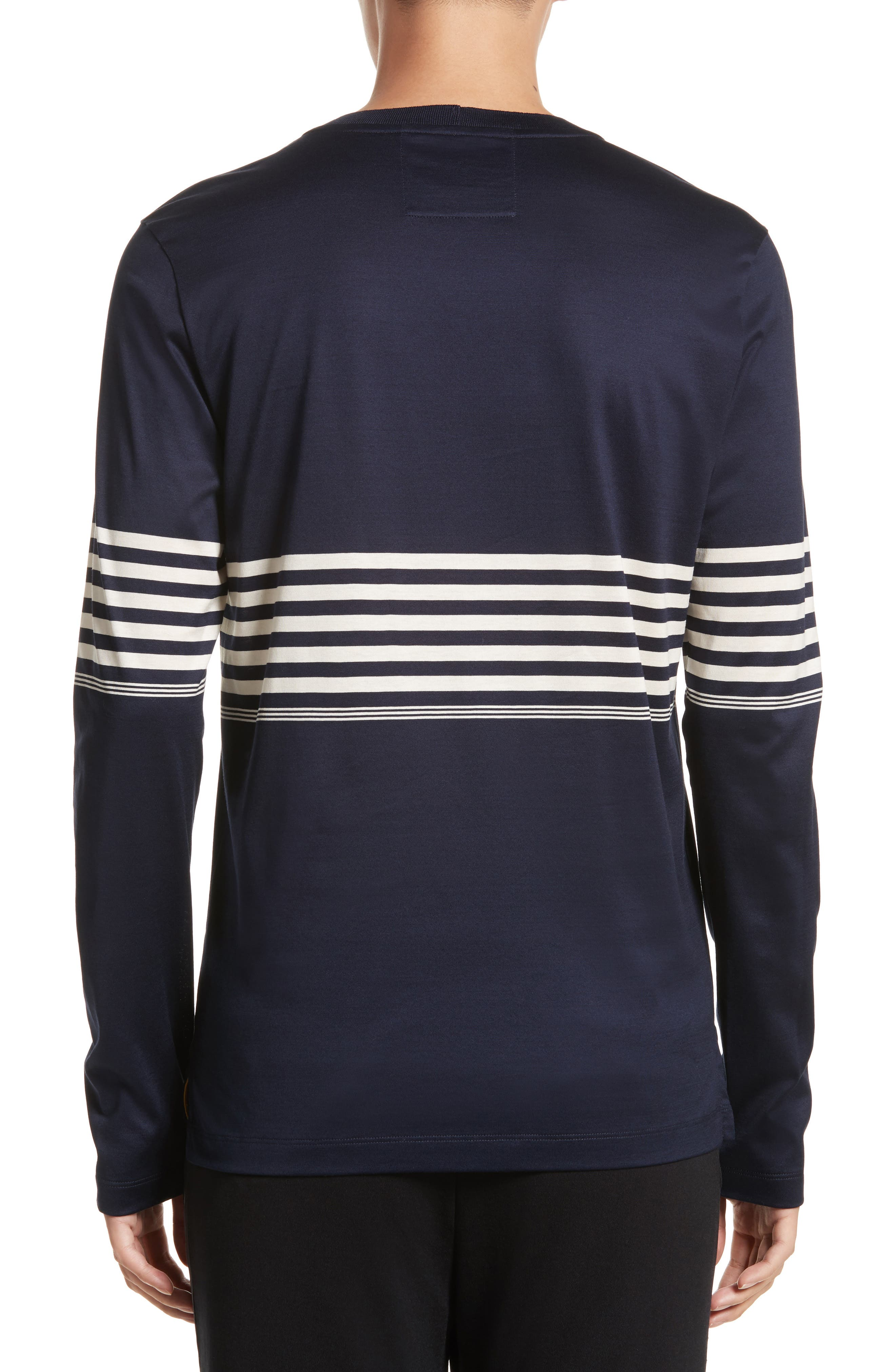 Stripe Long Sleeve T-Shirt,                             Alternate thumbnail 2, color,                             Navy