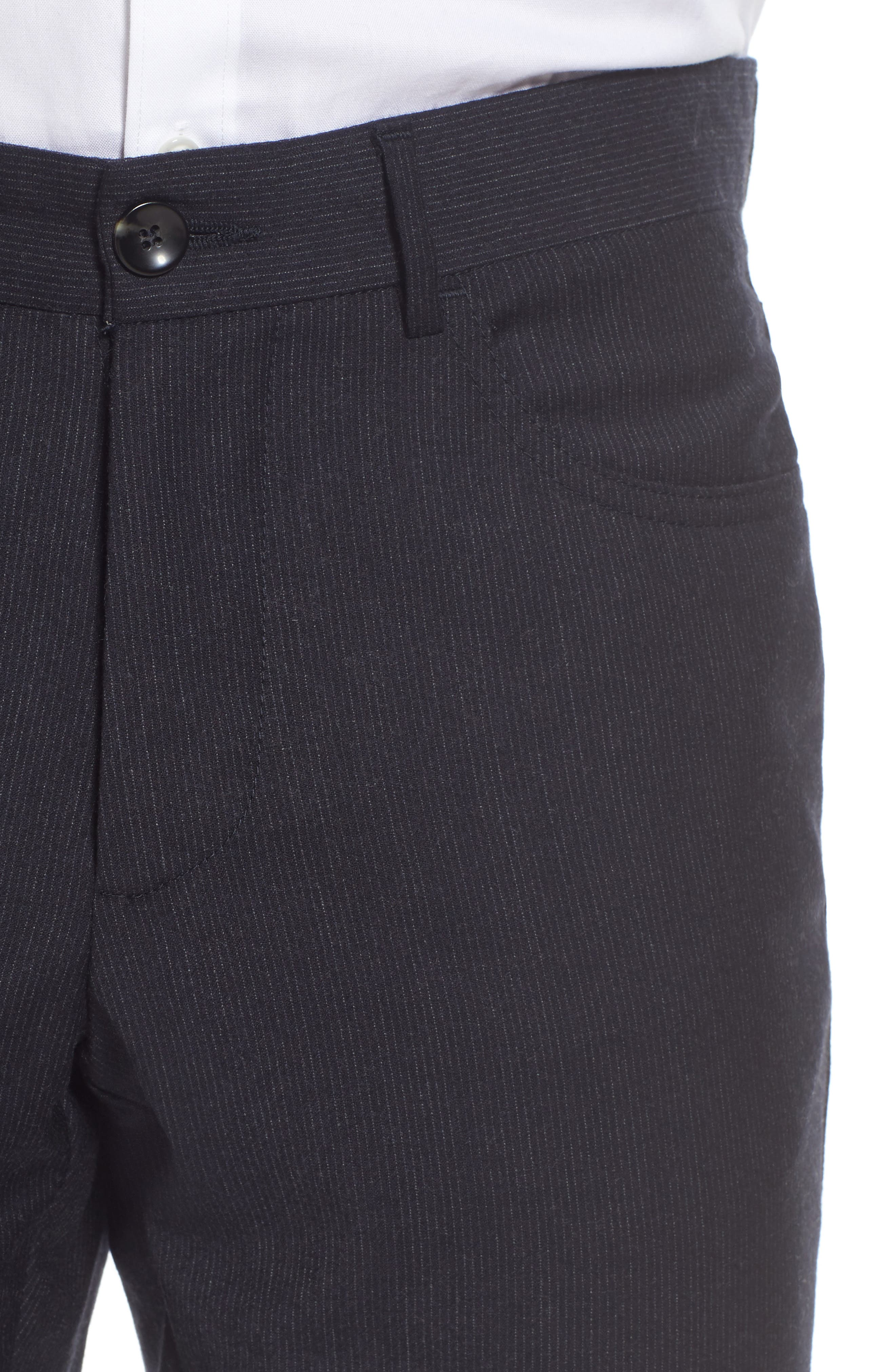 Flat Front Stripe Stretch Wool Trousers,                             Alternate thumbnail 5, color,                             Mid Grey