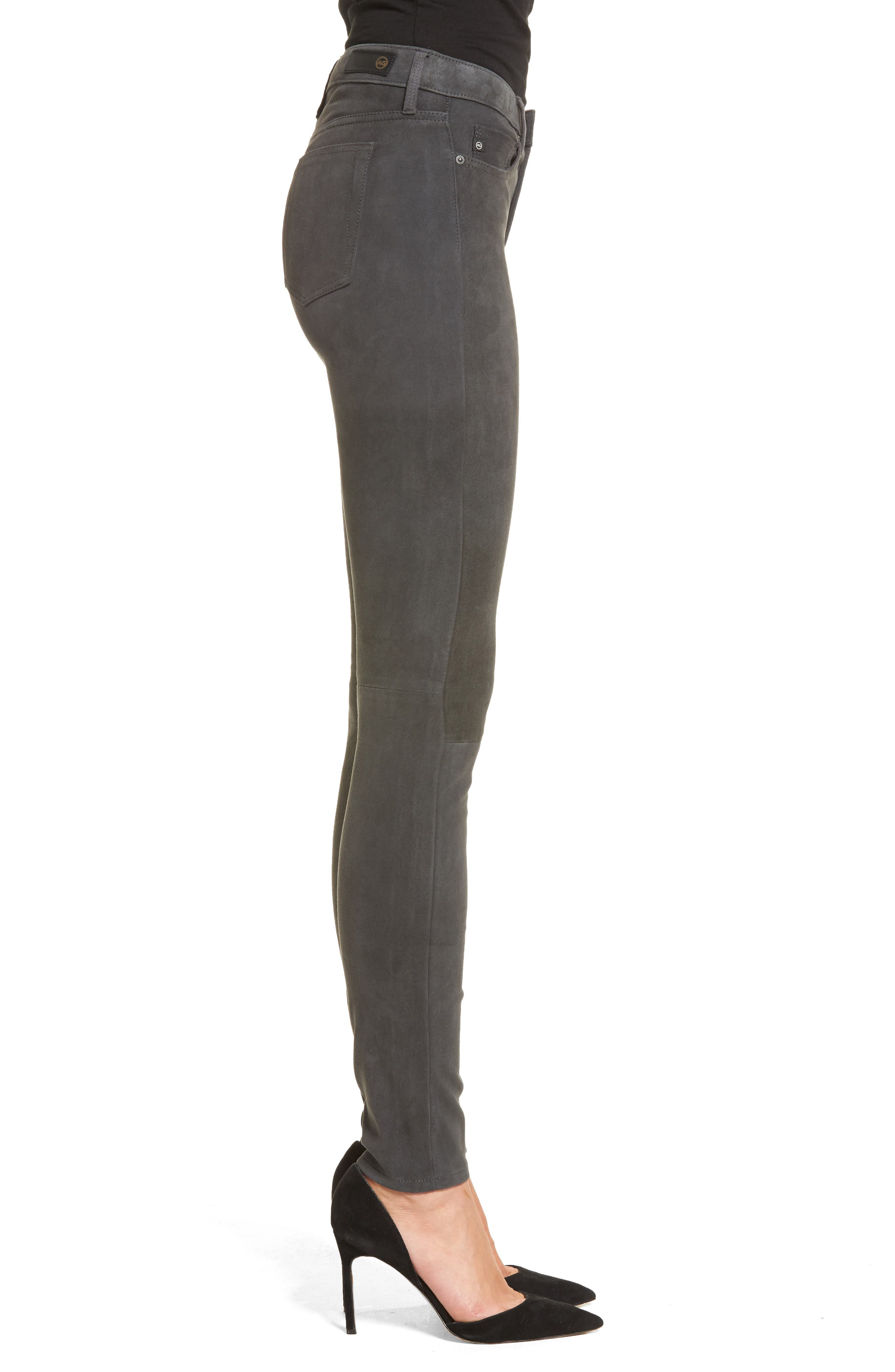 The Legging Super Skinny Suede Pants,                             Alternate thumbnail 3, color,                             Dark Slate