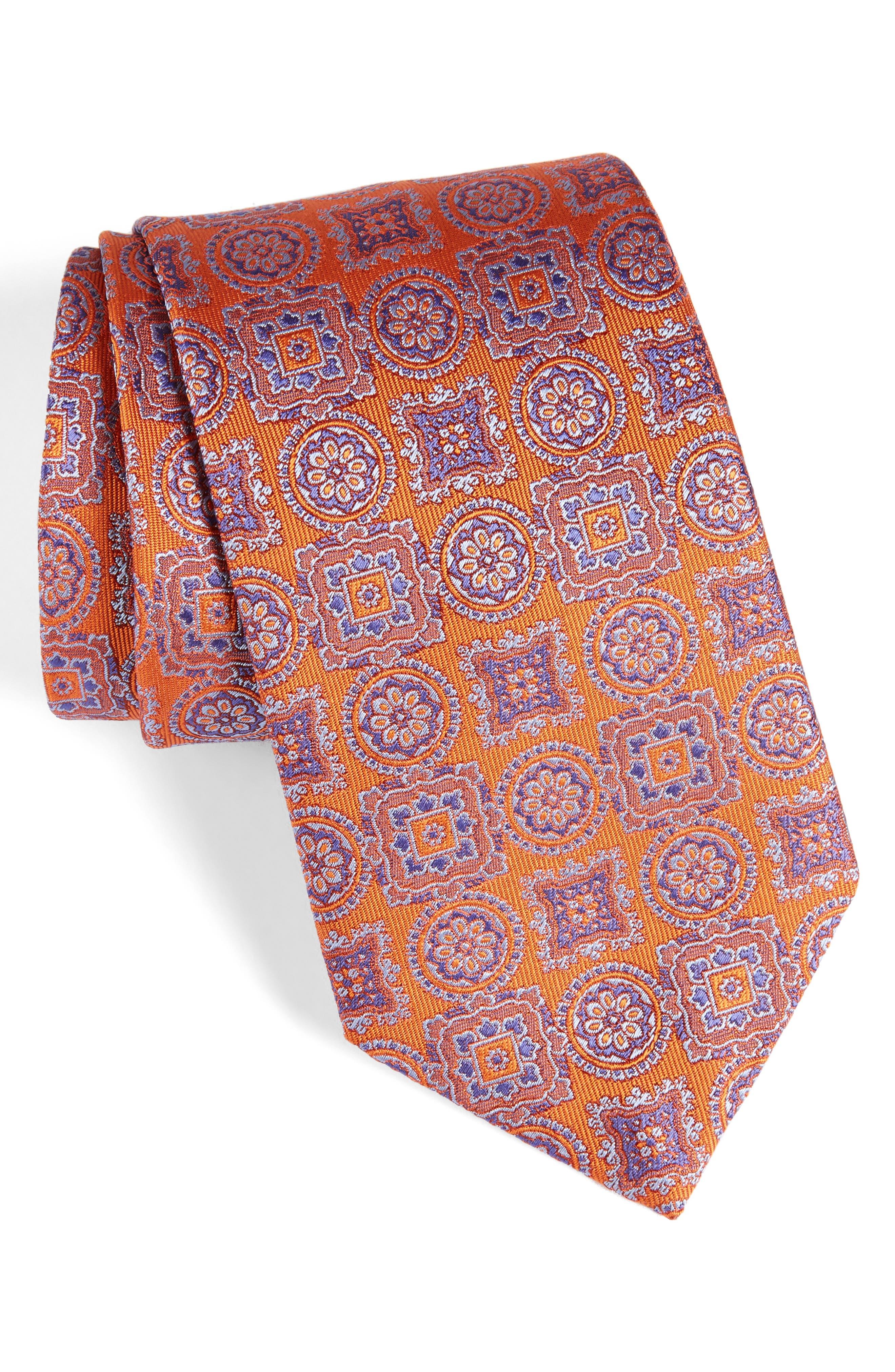 Medallion Silk Tie,                             Main thumbnail 1, color,                             Pumpkin