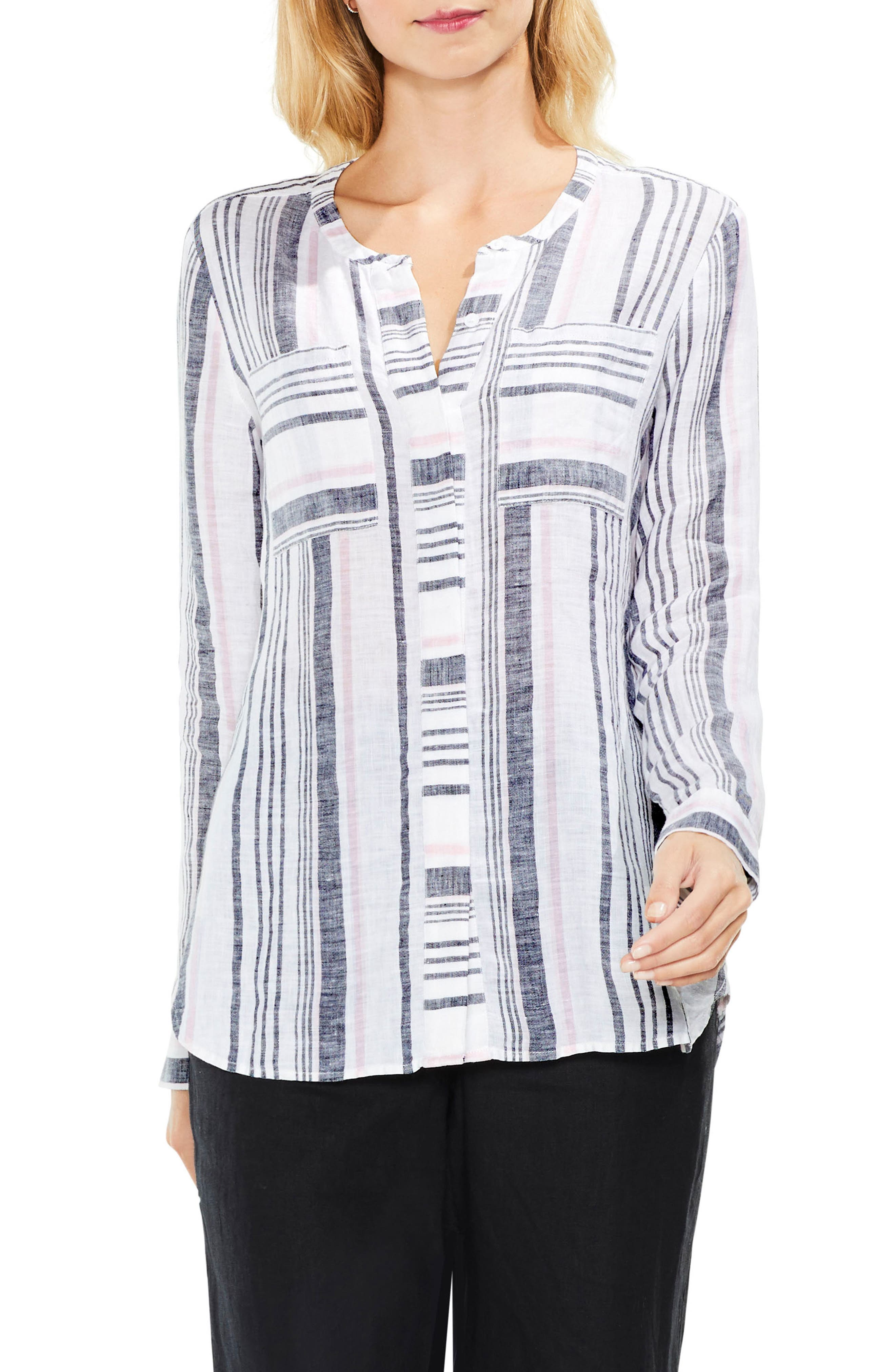 Two by Vince Camuto Variegated Step Stripe Top