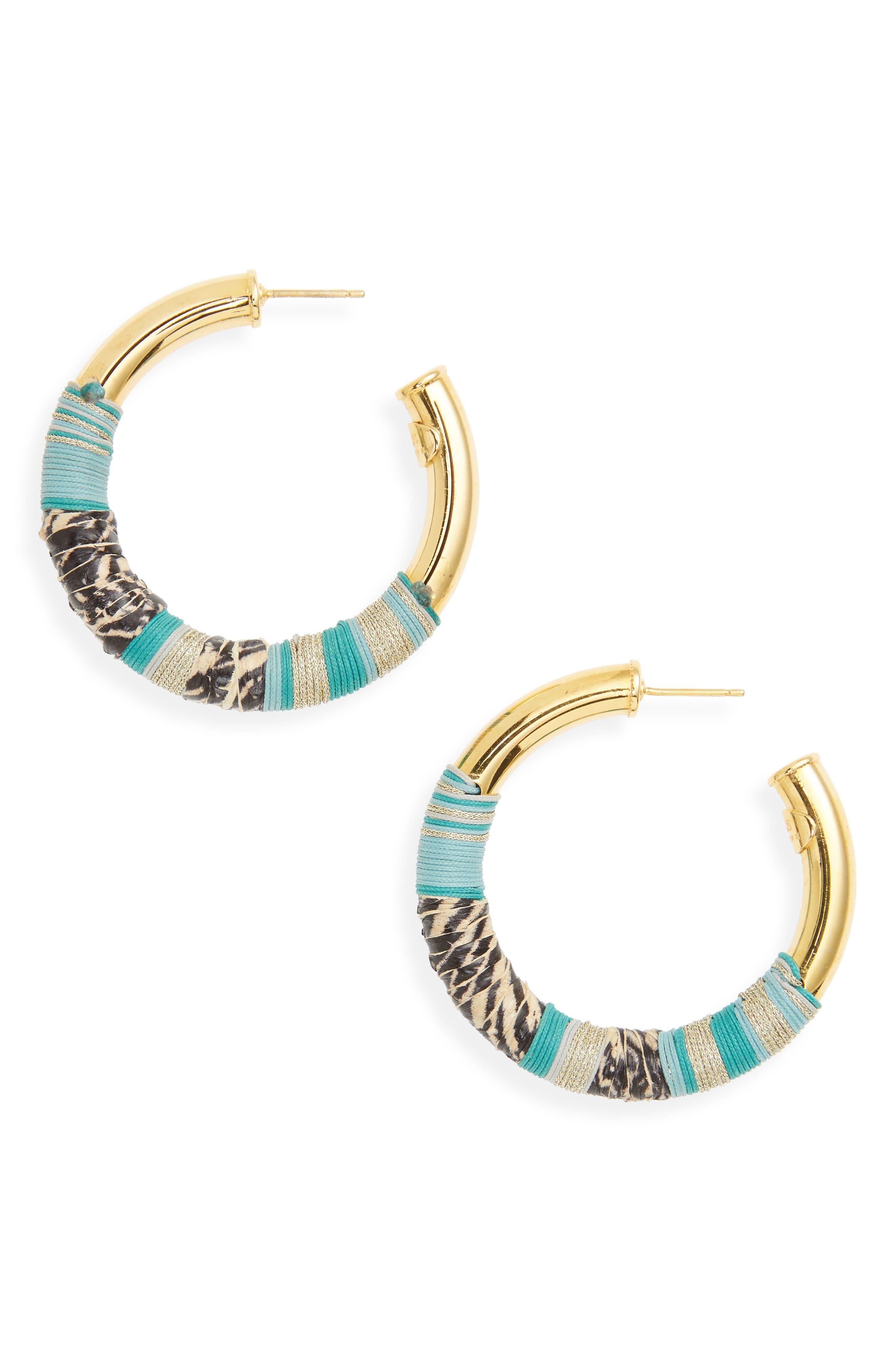Wrapped Hoop Earrings,                         Main,                         color, Green Beige/ Gold