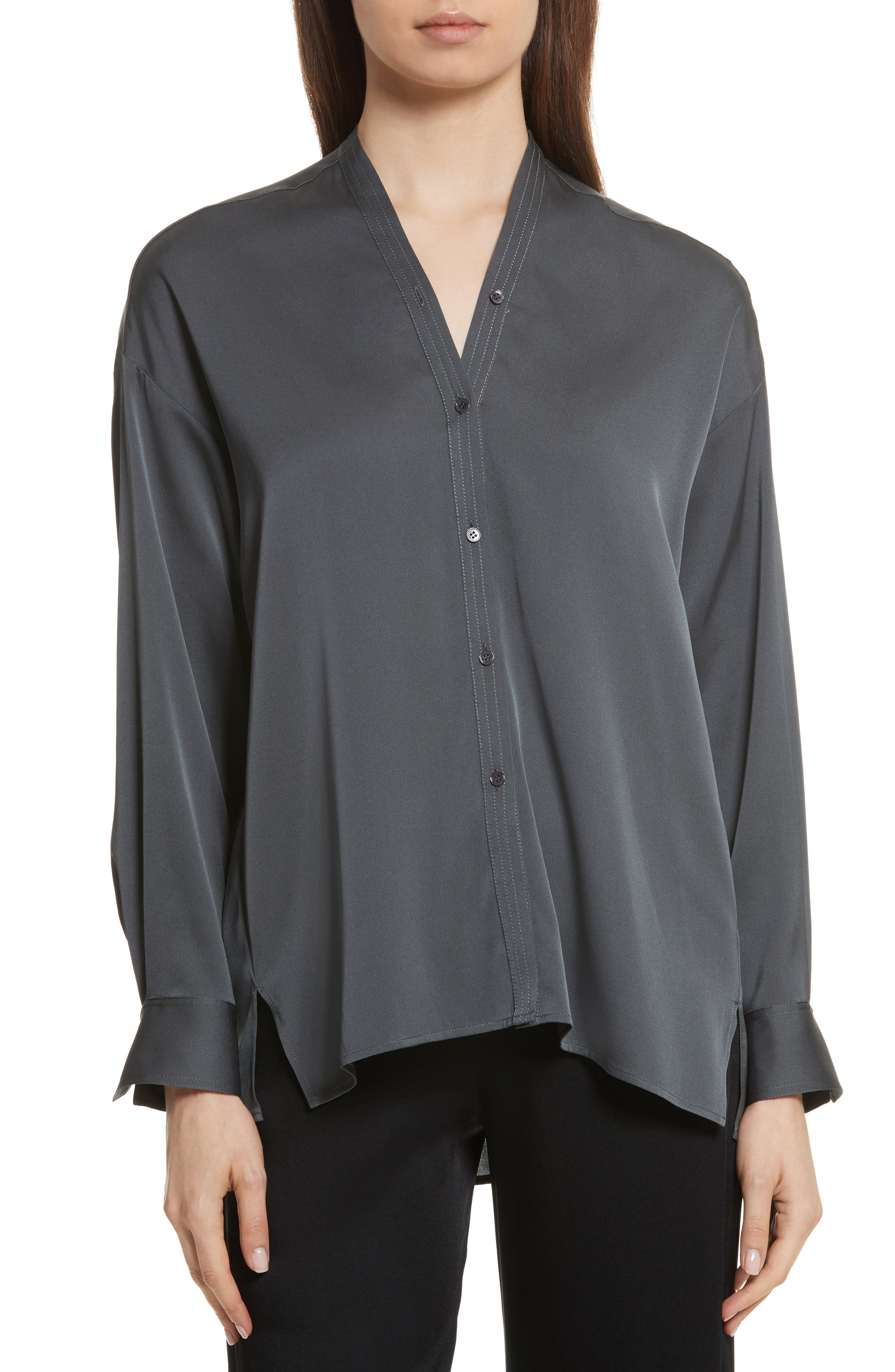 Trapunto Stretch Silk Blouse,                             Main thumbnail 1, color,                             Mineral