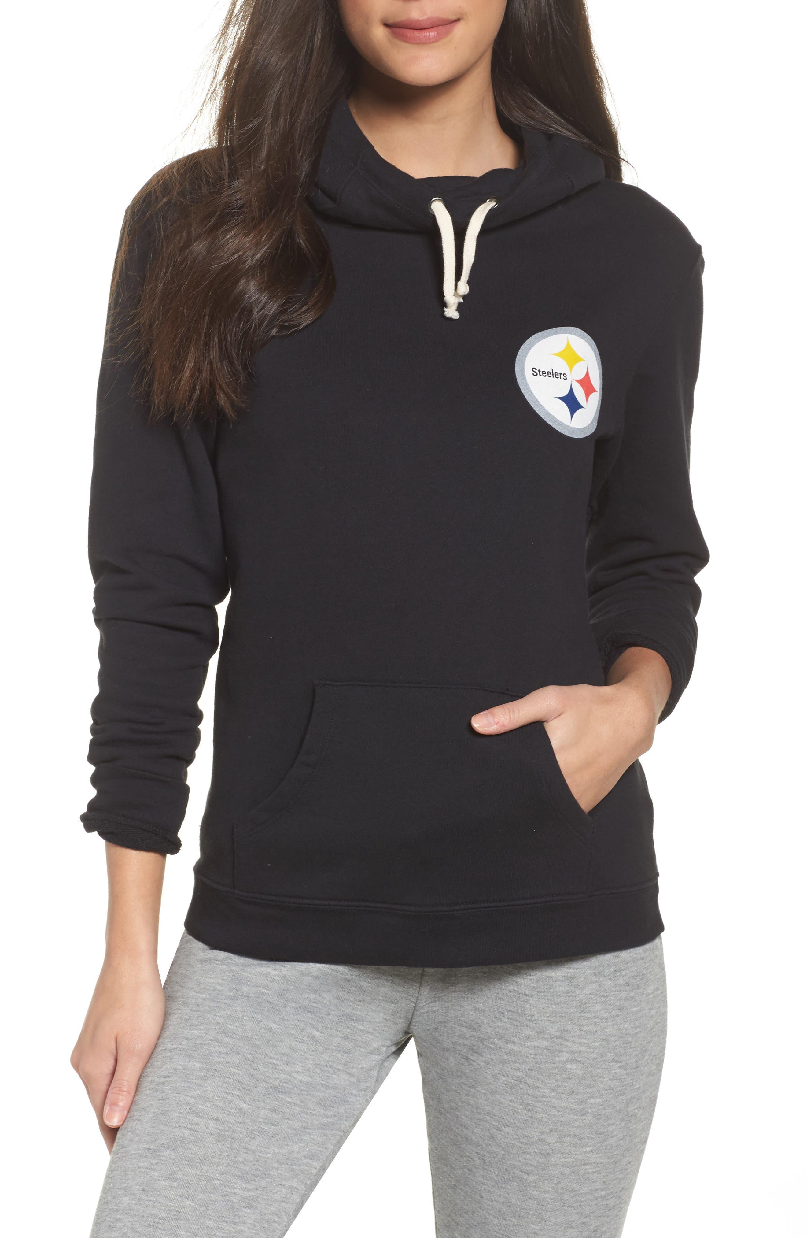 NFL Pittsburgh Steelers Sunday Hoodie,                             Main thumbnail 1, color,                             True Black